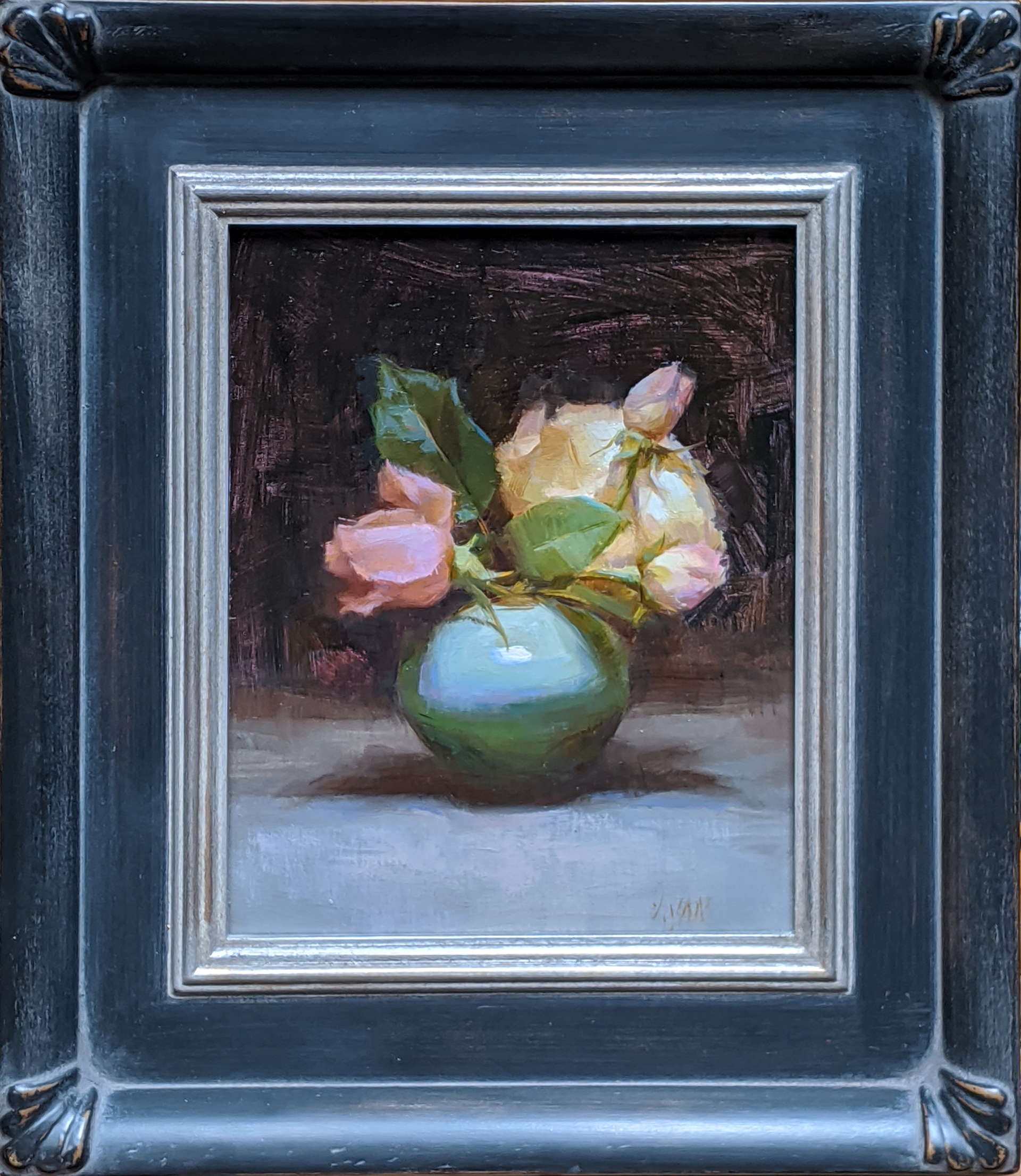 Pink and Yellow Roses by Susan Lyon