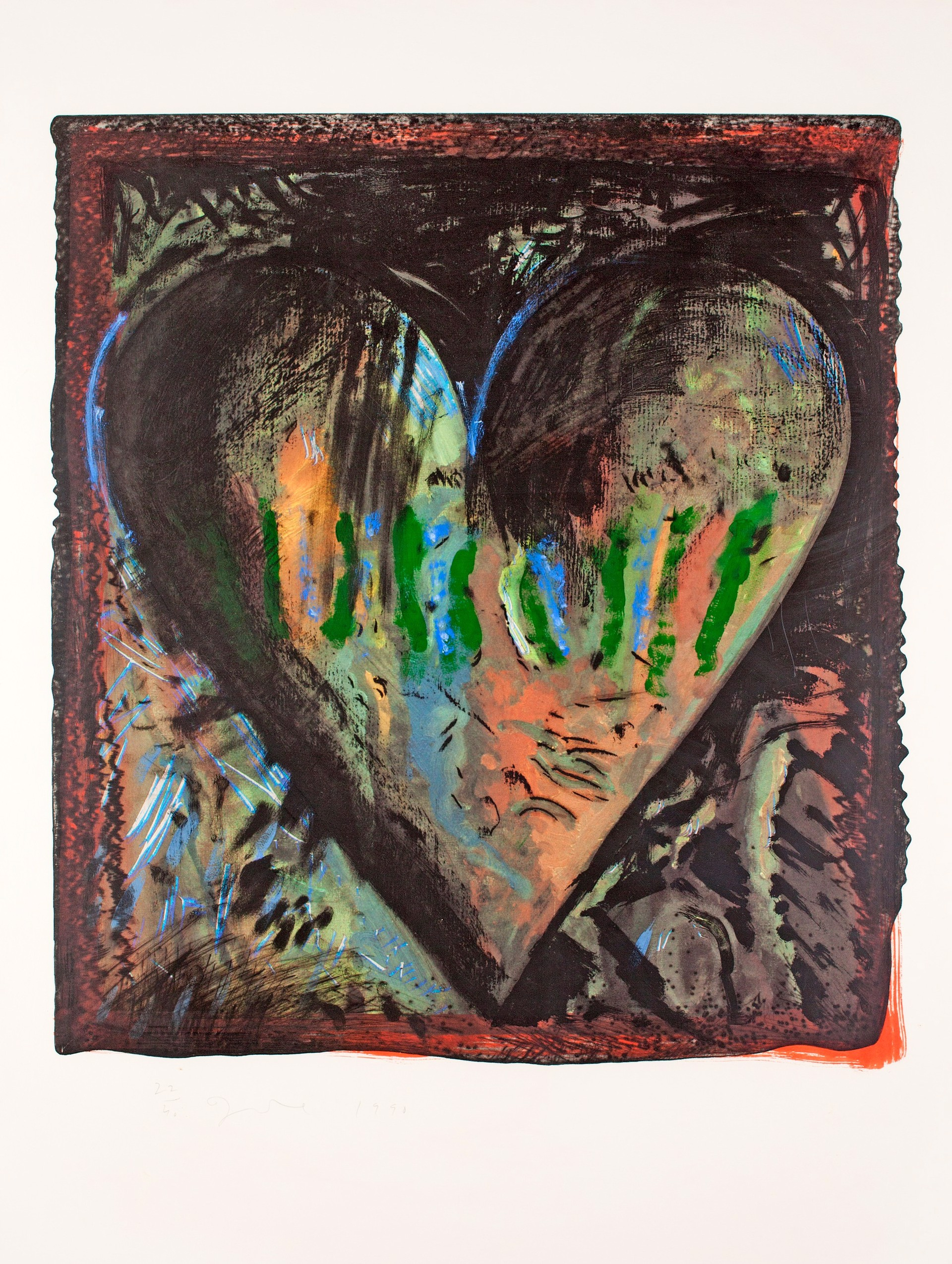 The Hand-Colored Viennese Hearts, II by Jim Dine