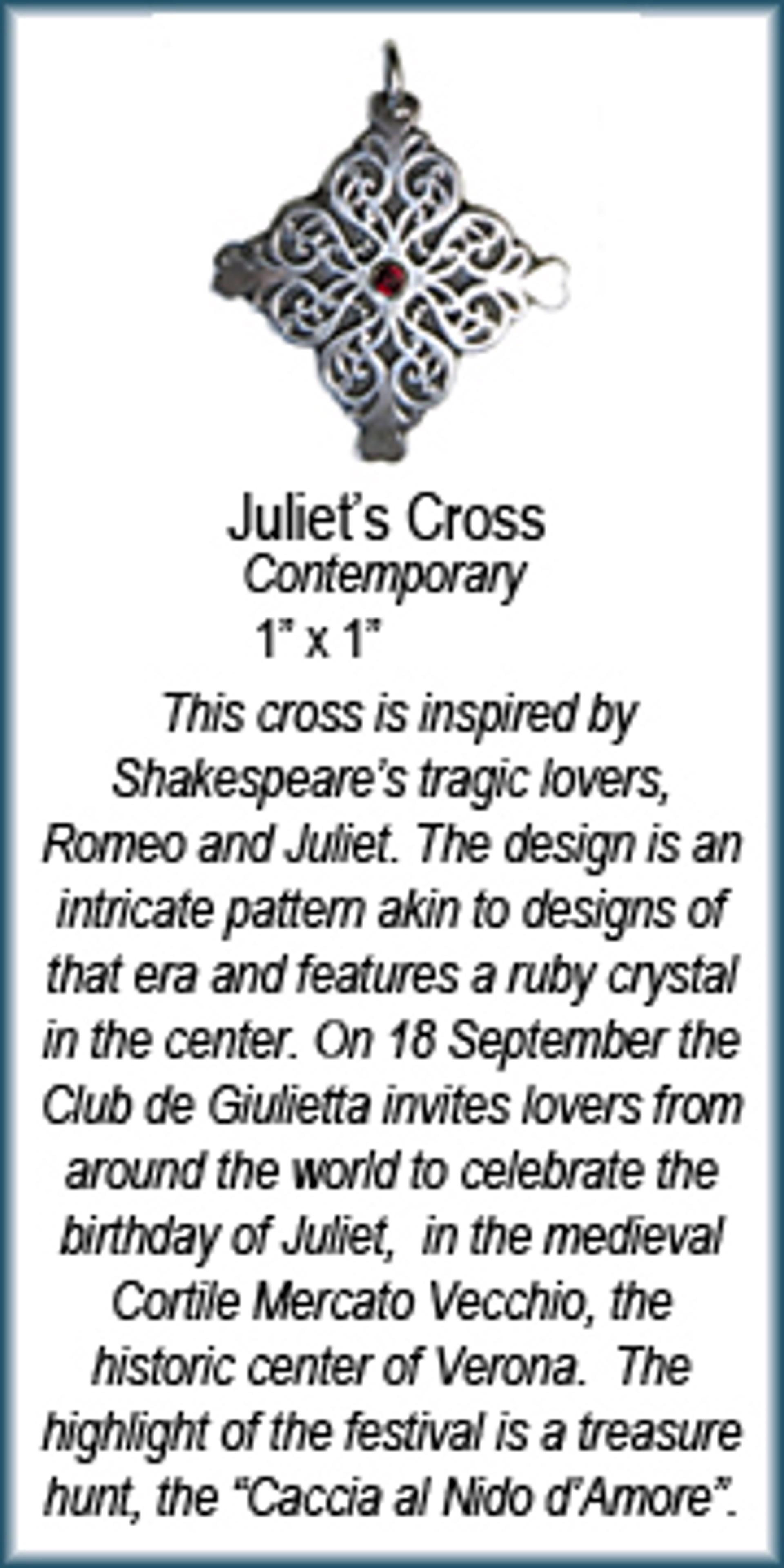 Pendant - Silver Juliet's Cross With Ruby 8908 by Deanne McKeown