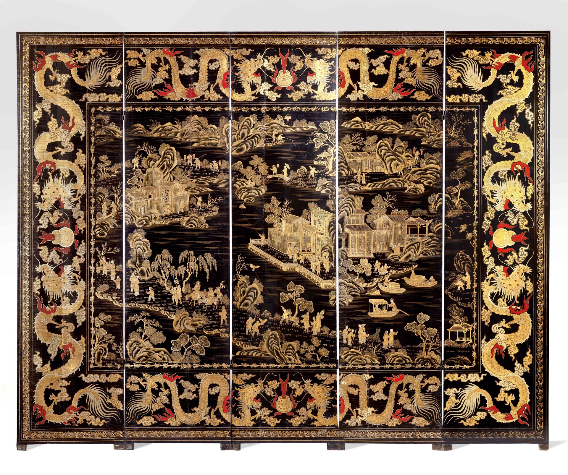 CHINESE LACQUER FIVE PANEL SCREEN