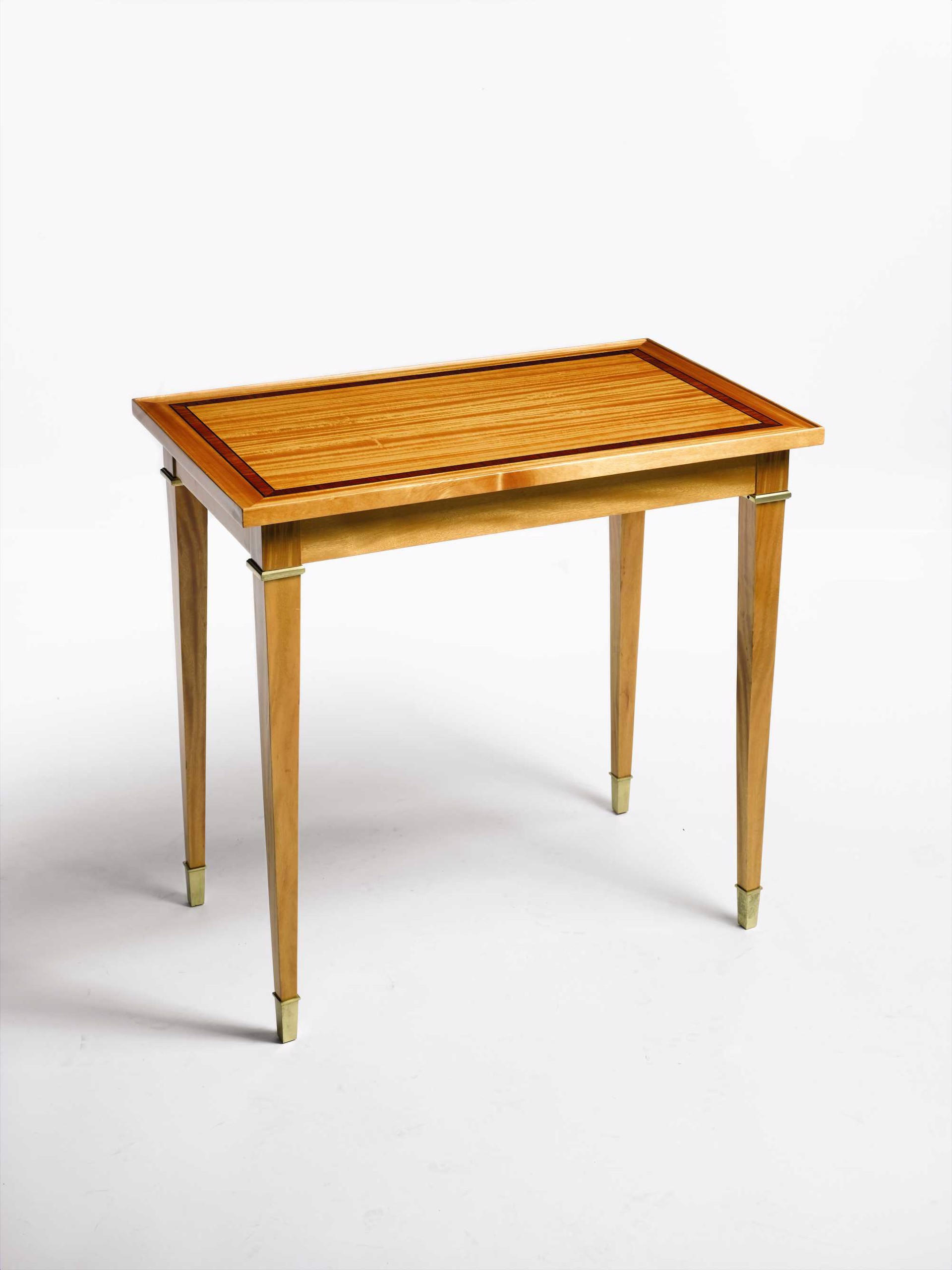 FRENCH DIRECTOIRE STYLE SMALL SATINWOOD SIDE TABLE