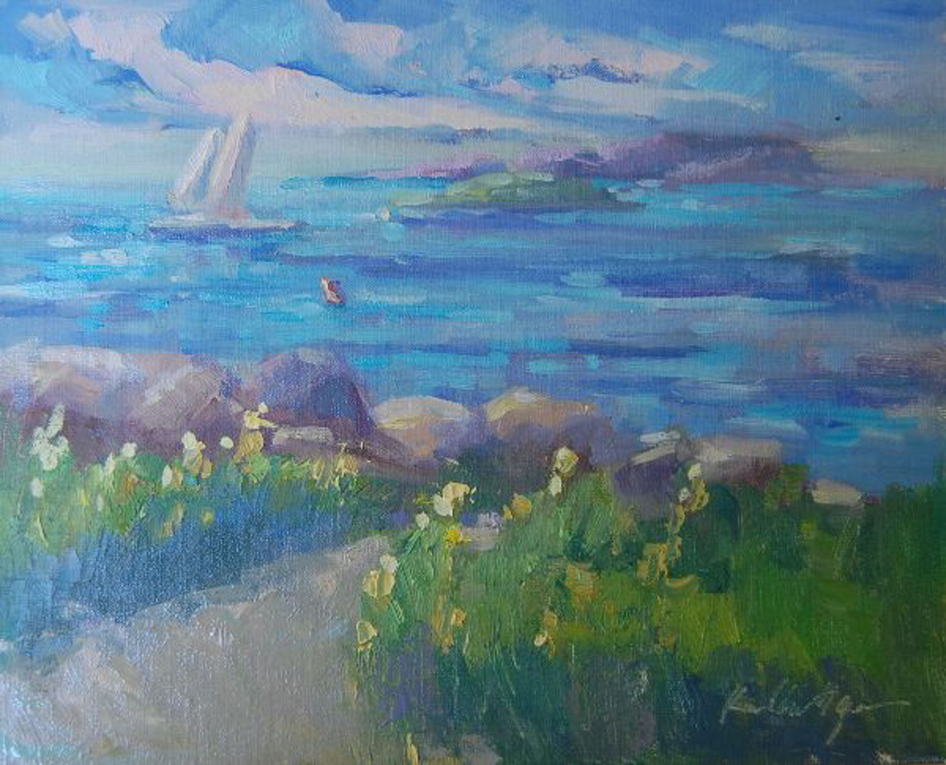 East of the Lighthouse (Maine) by Karen Hewitt Hagan