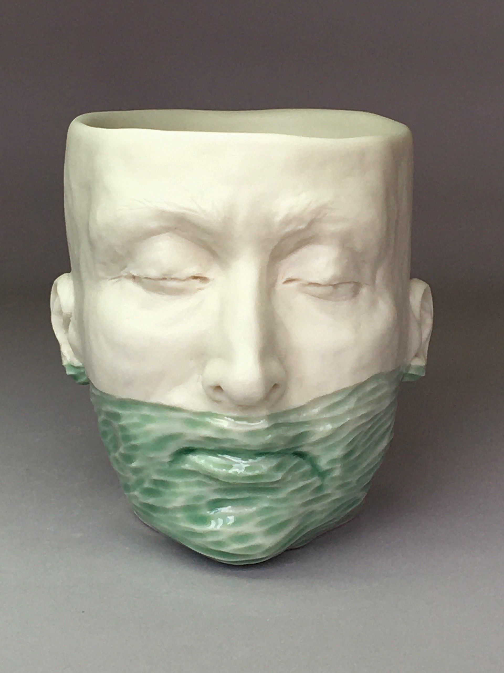 """Low Water Level Cup IV"" (light green celadon, deep teal blue interior) by Adrian Arleo"