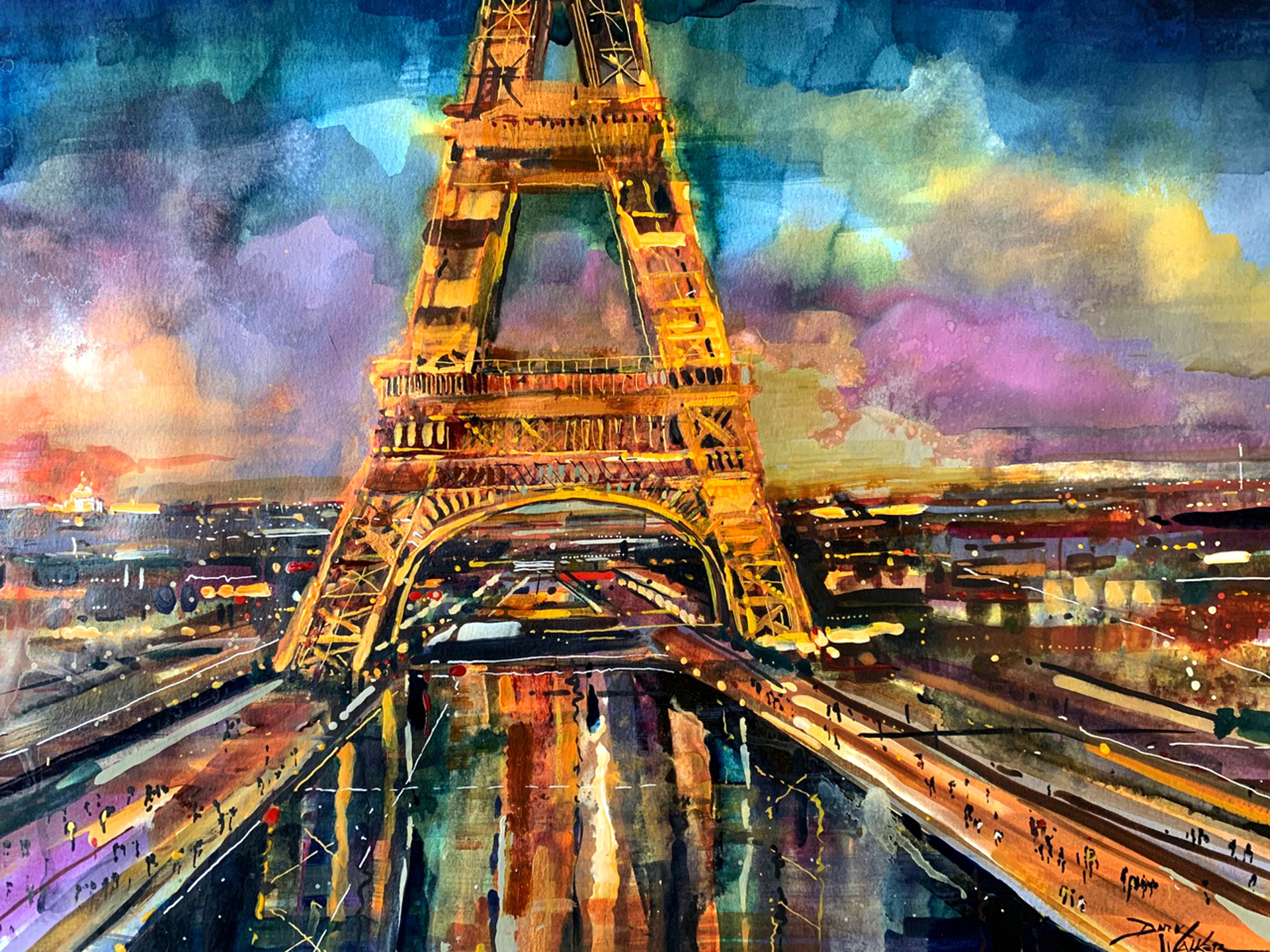 Eiffel Tower at Dusk by Dirk Walker