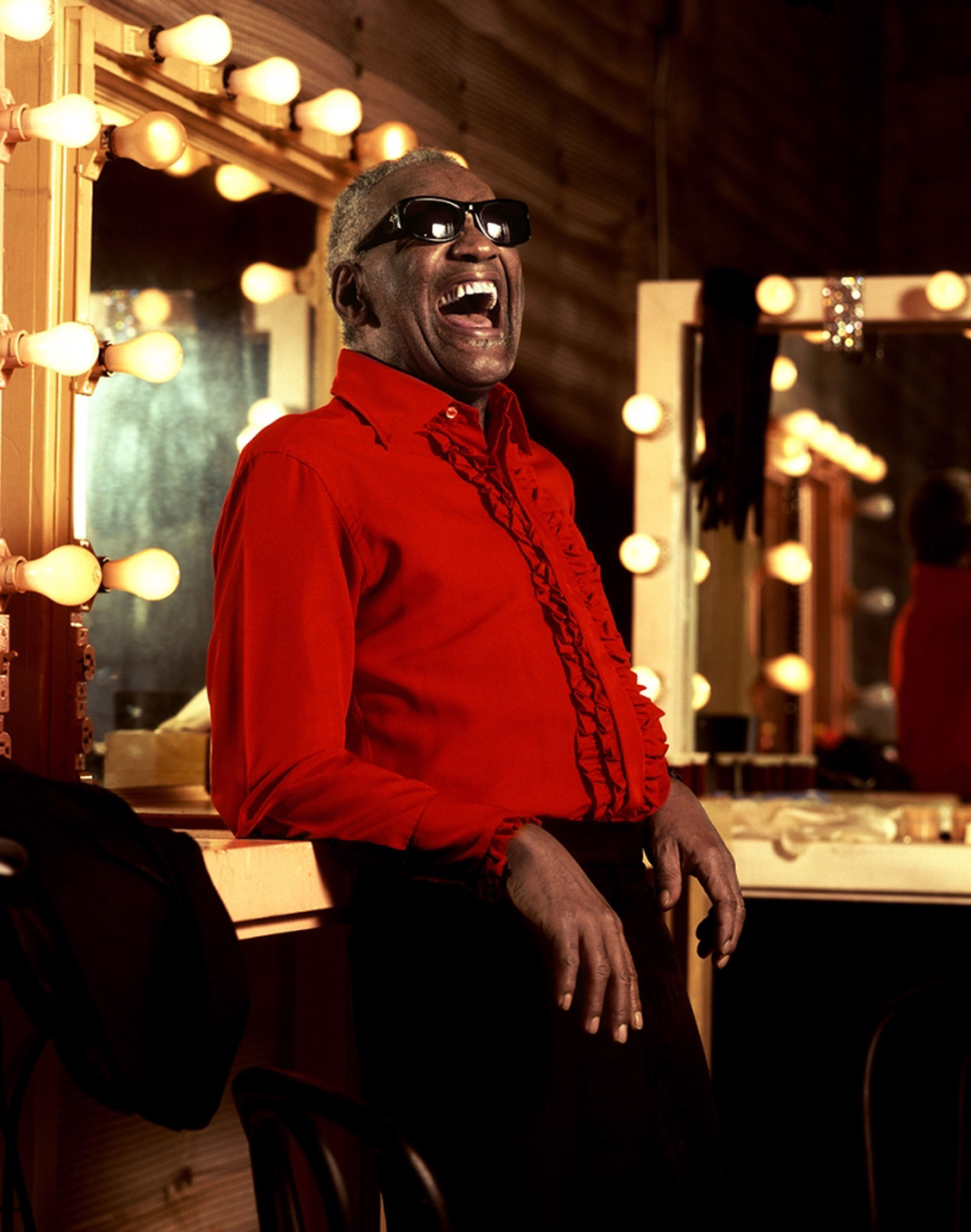 92112 Ray Charles The Smile on Red Color by Timothy White