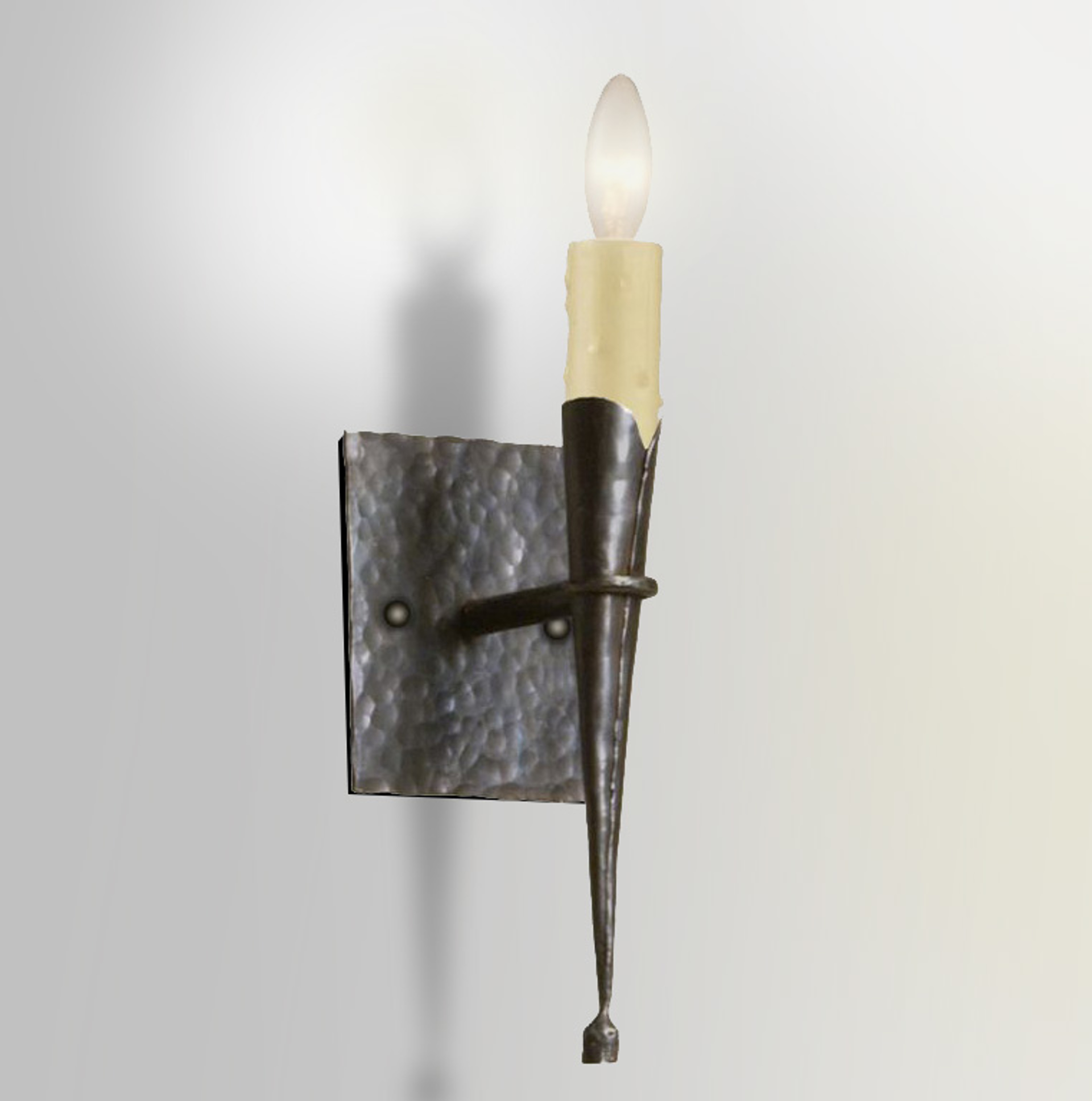Hand Hammered Cone Sconce by Tim Adams Iron-worker