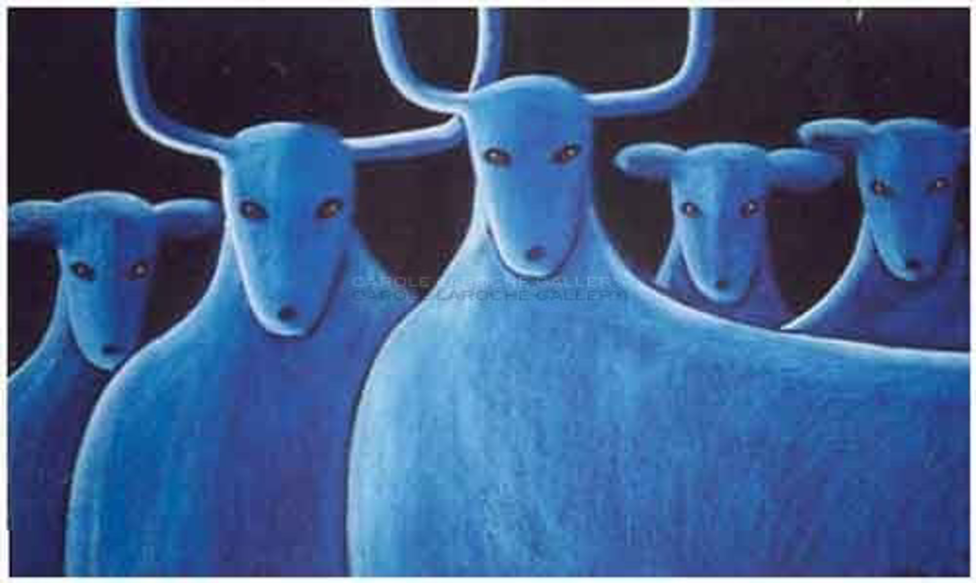 "FIVE BLUE DEER - limited edition giclee on canvas (large) 40""x54"" $3500 or (medium) 30""x40"" $2200 or on paper w/frame size of: (large) 40""x54"" $3700 or (medium) 30""x40"" $2200 by Carole LaRoche"