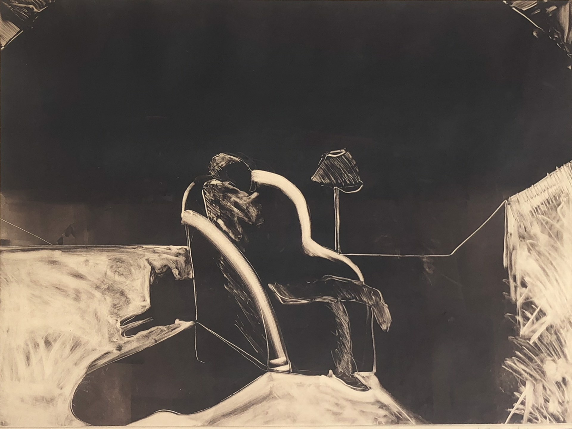 Man in a Chair With Dog by Fritz Scholder