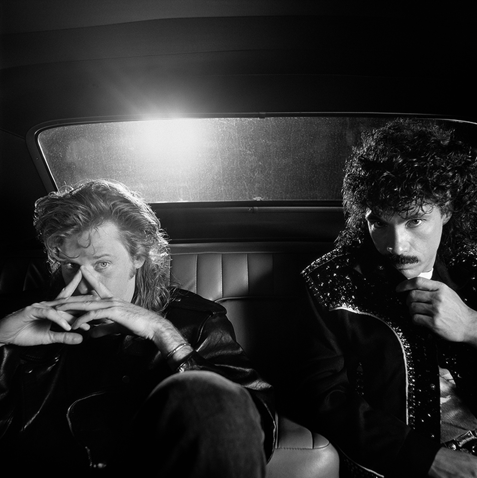 88094 Hall & Oates In The Back of A Car BW by Timothy White