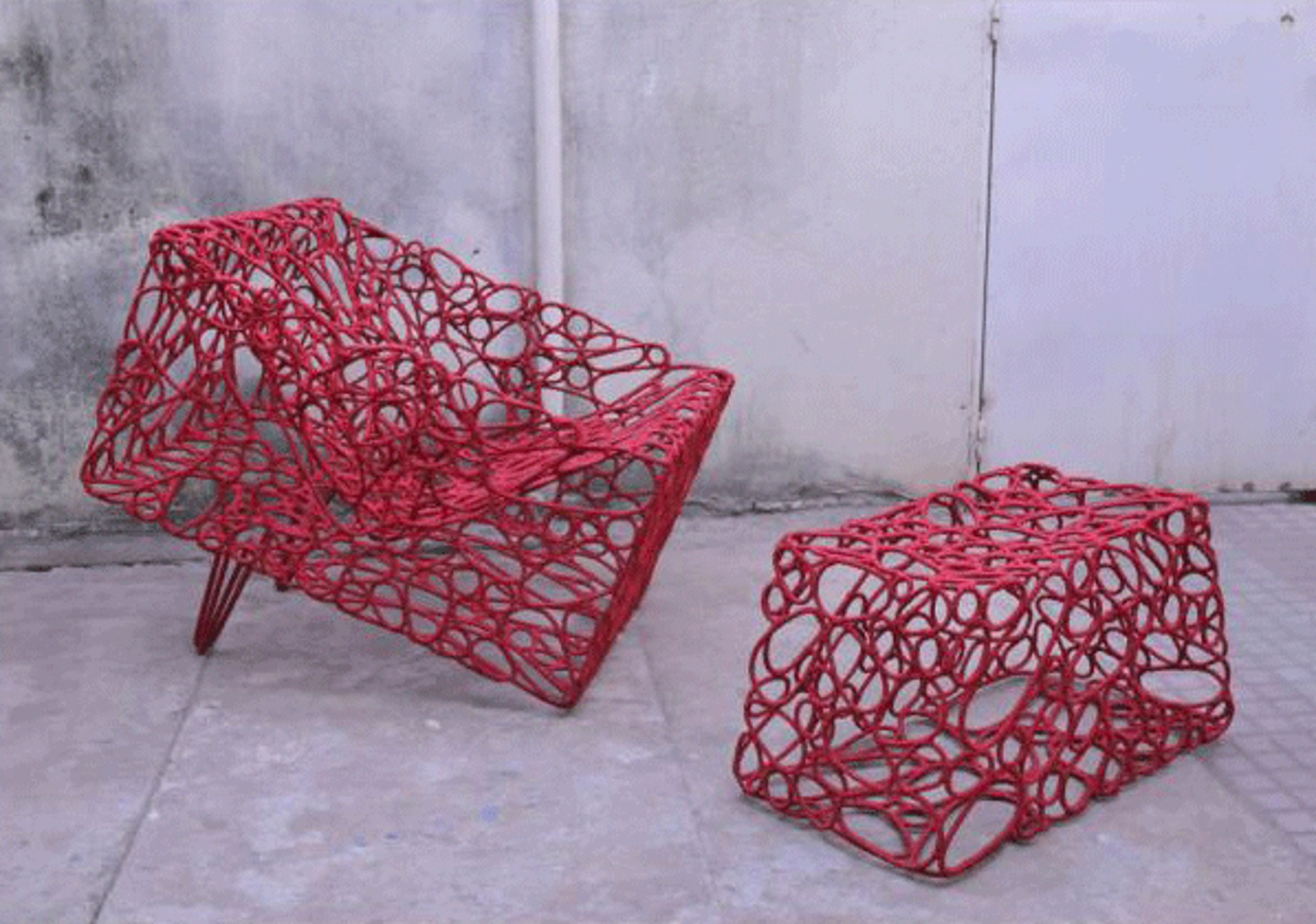 Hand woven armchair by Cheick Diallo