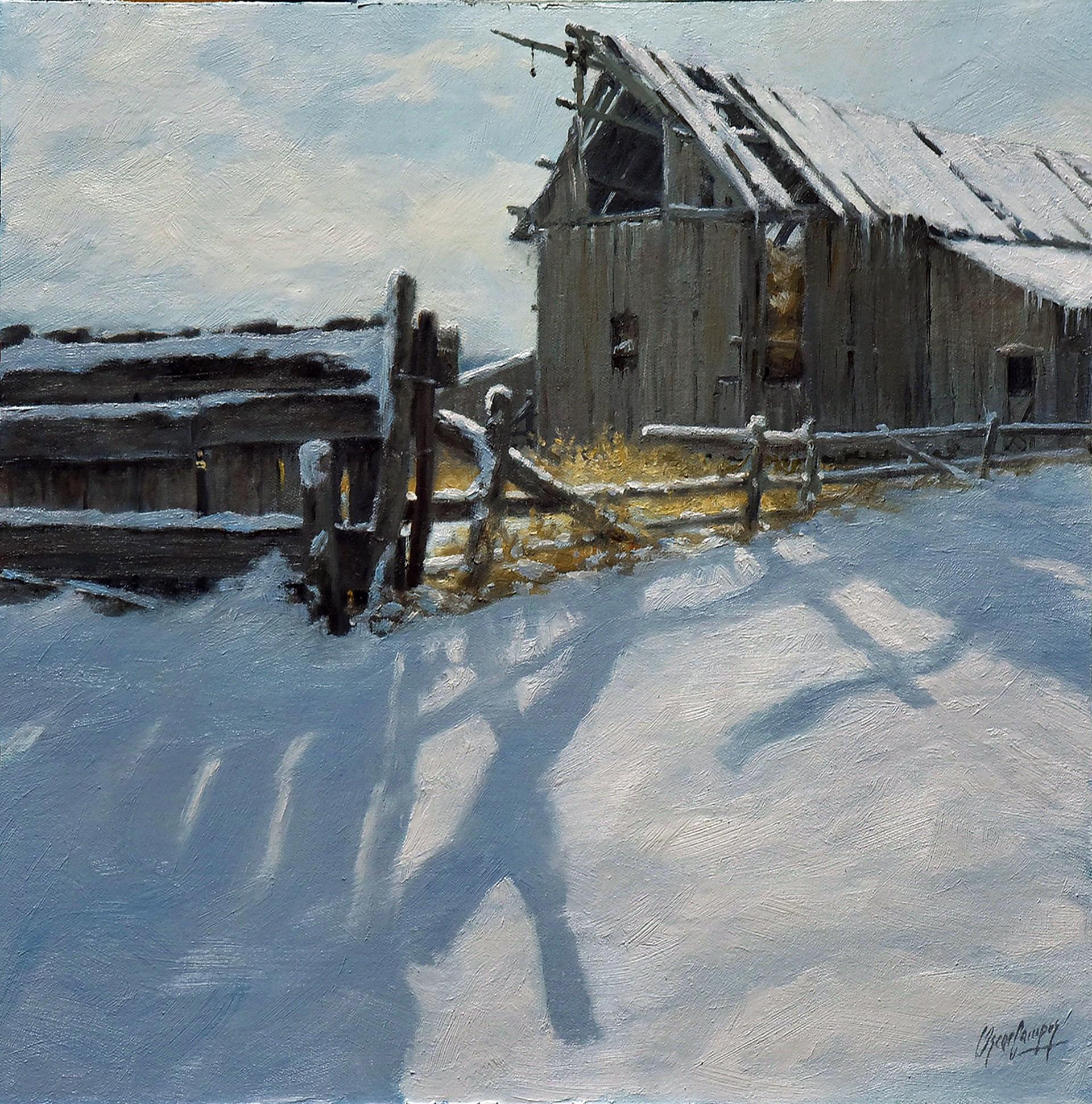 Fence and Snowy Barn by Oscar Campos