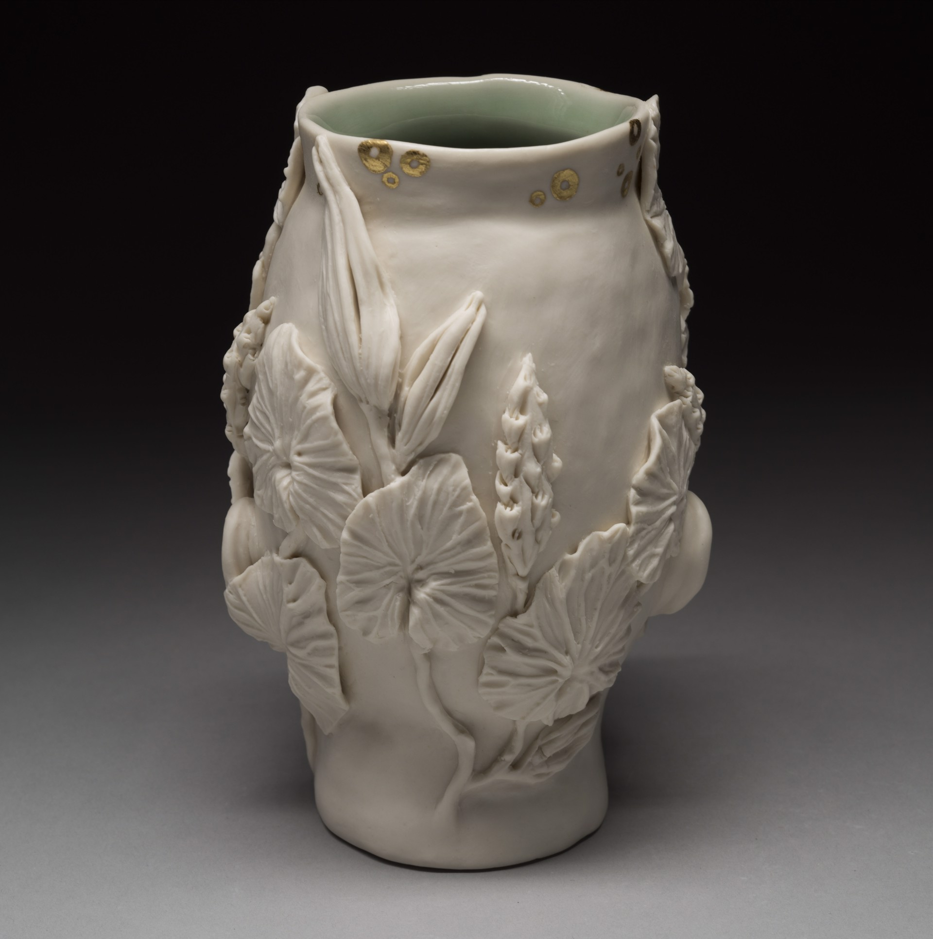 """""""Flora Vase with Gold Circles, Eyes Open"""" by Adrian Arleo"""