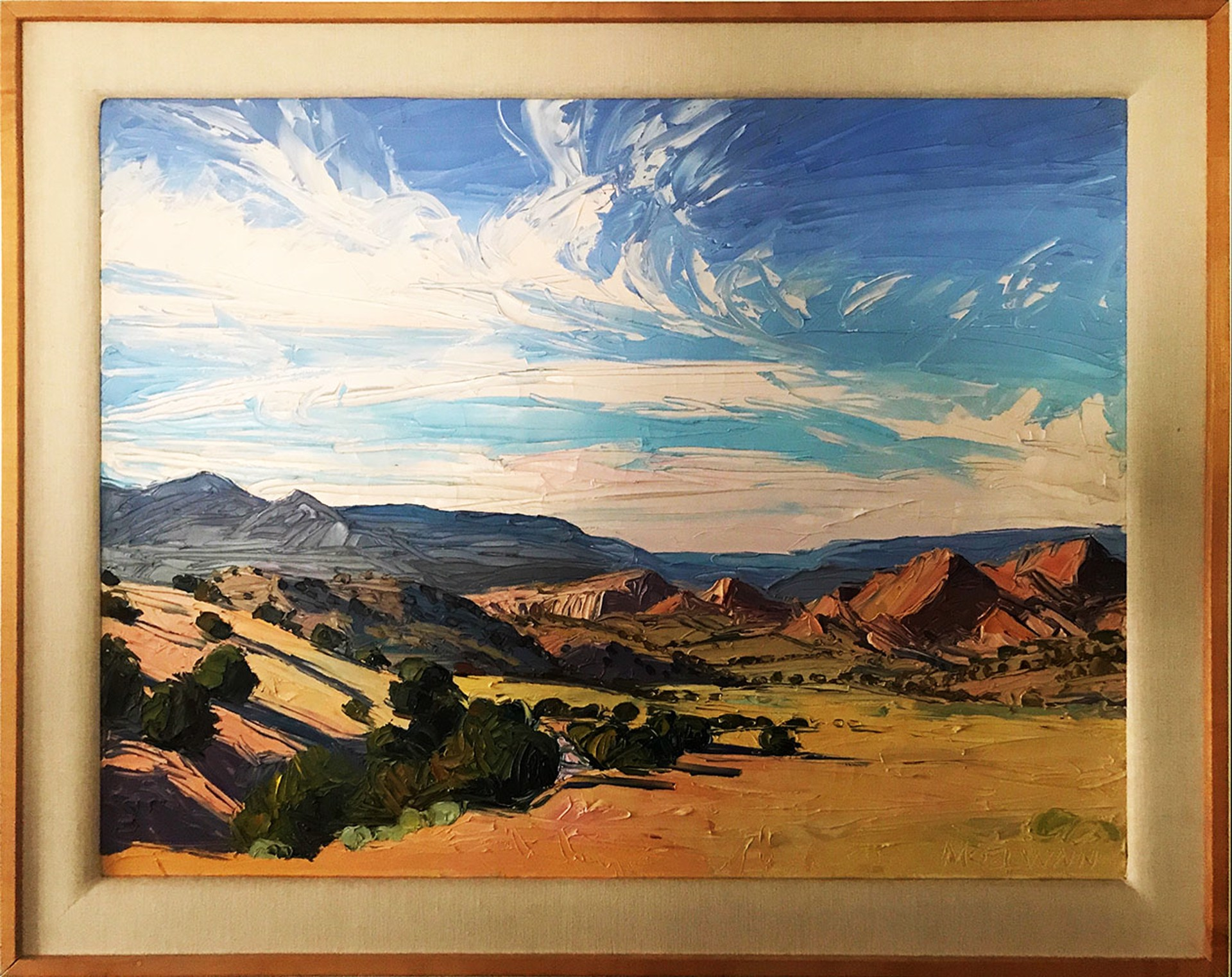 Chimayo Badlands with Pink Clouds by Louisa McElwain