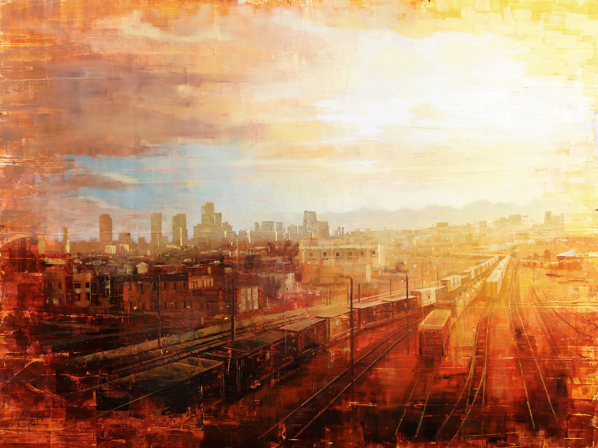 Denver - Afternoon Over the Tracks by Christopher Clark