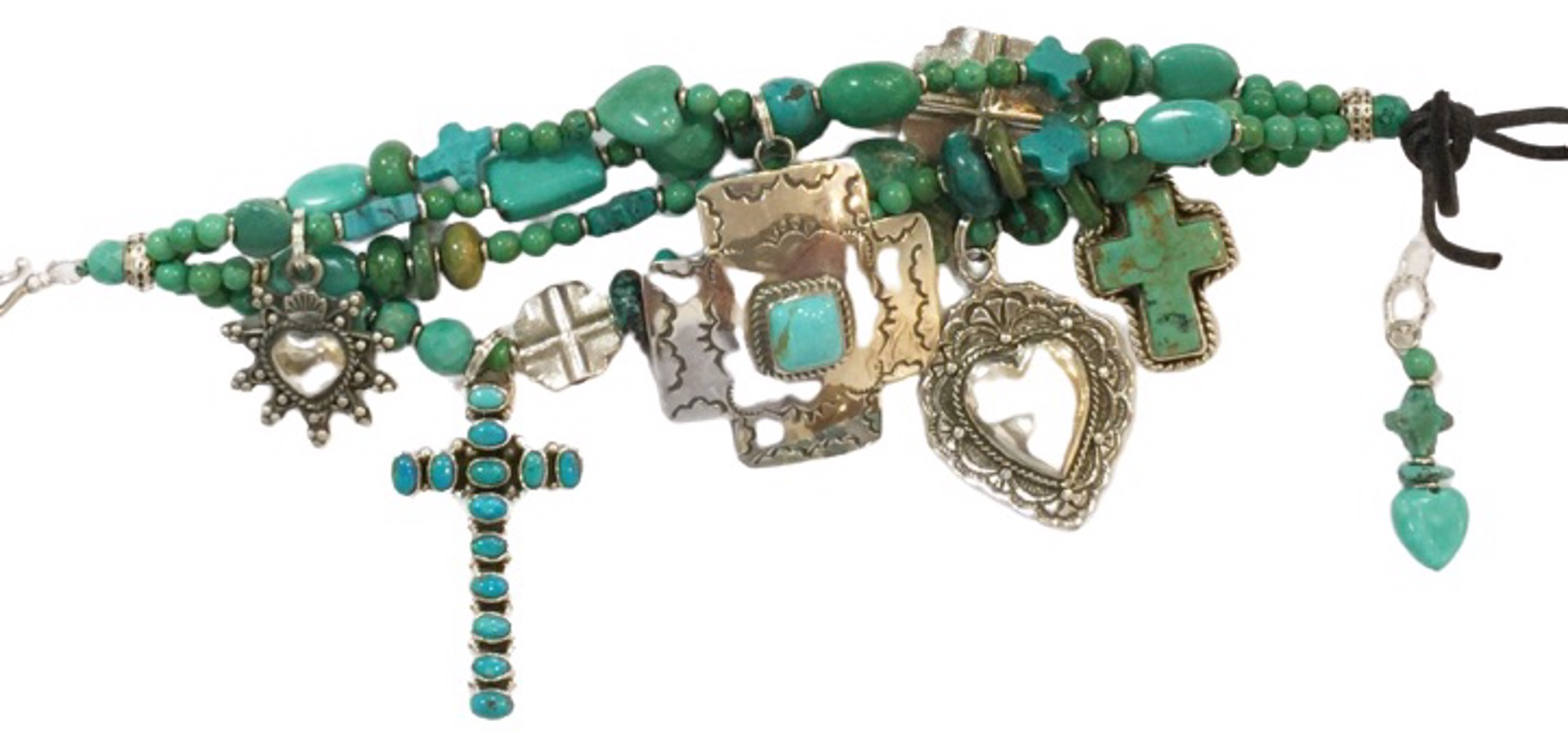 KY 1356C - Heart & Cross Bracelet, Turquoise & Sterling Silver by Kim Yubeta