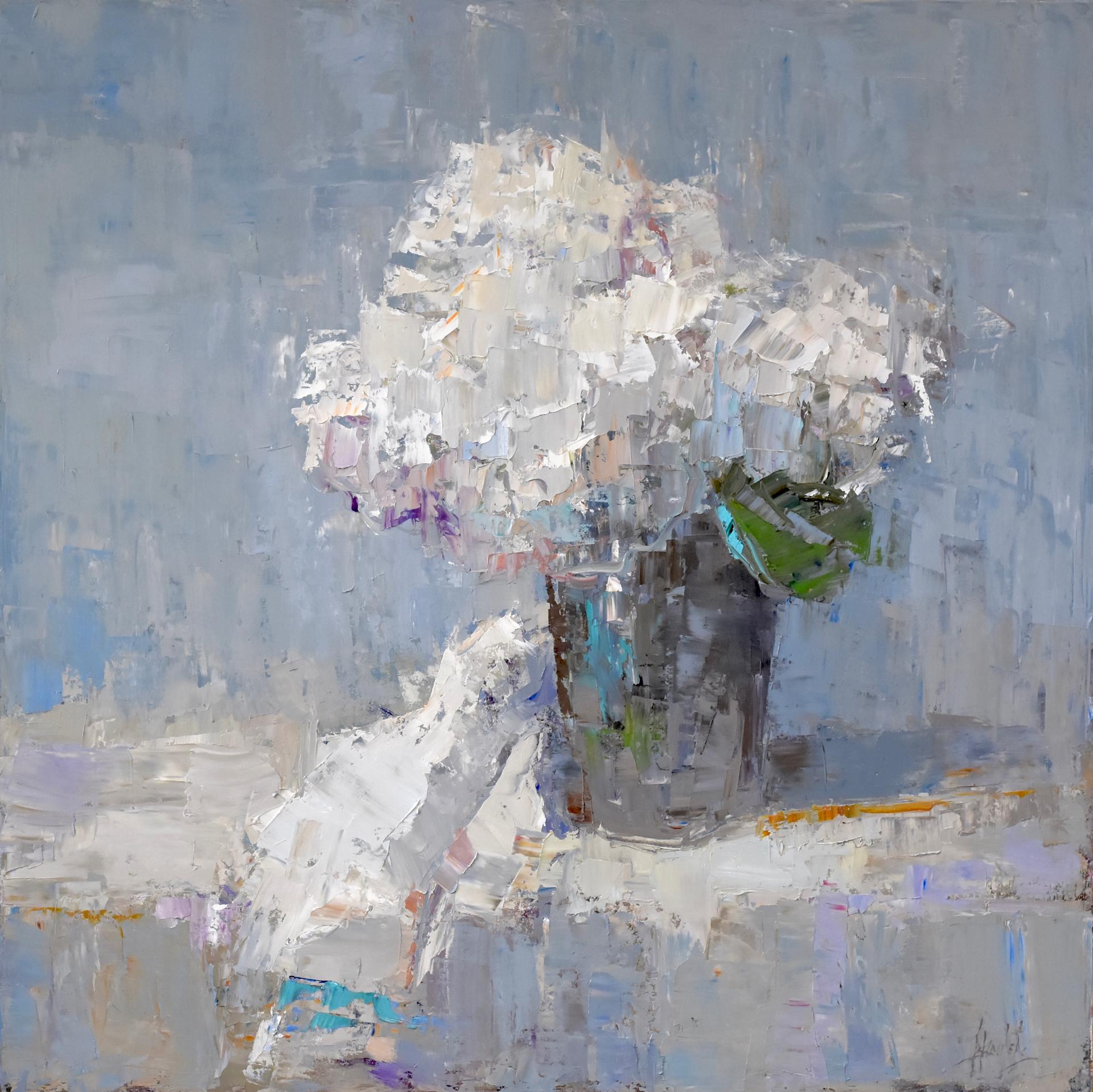 Hydrangeas on Table by Barbara Flowers