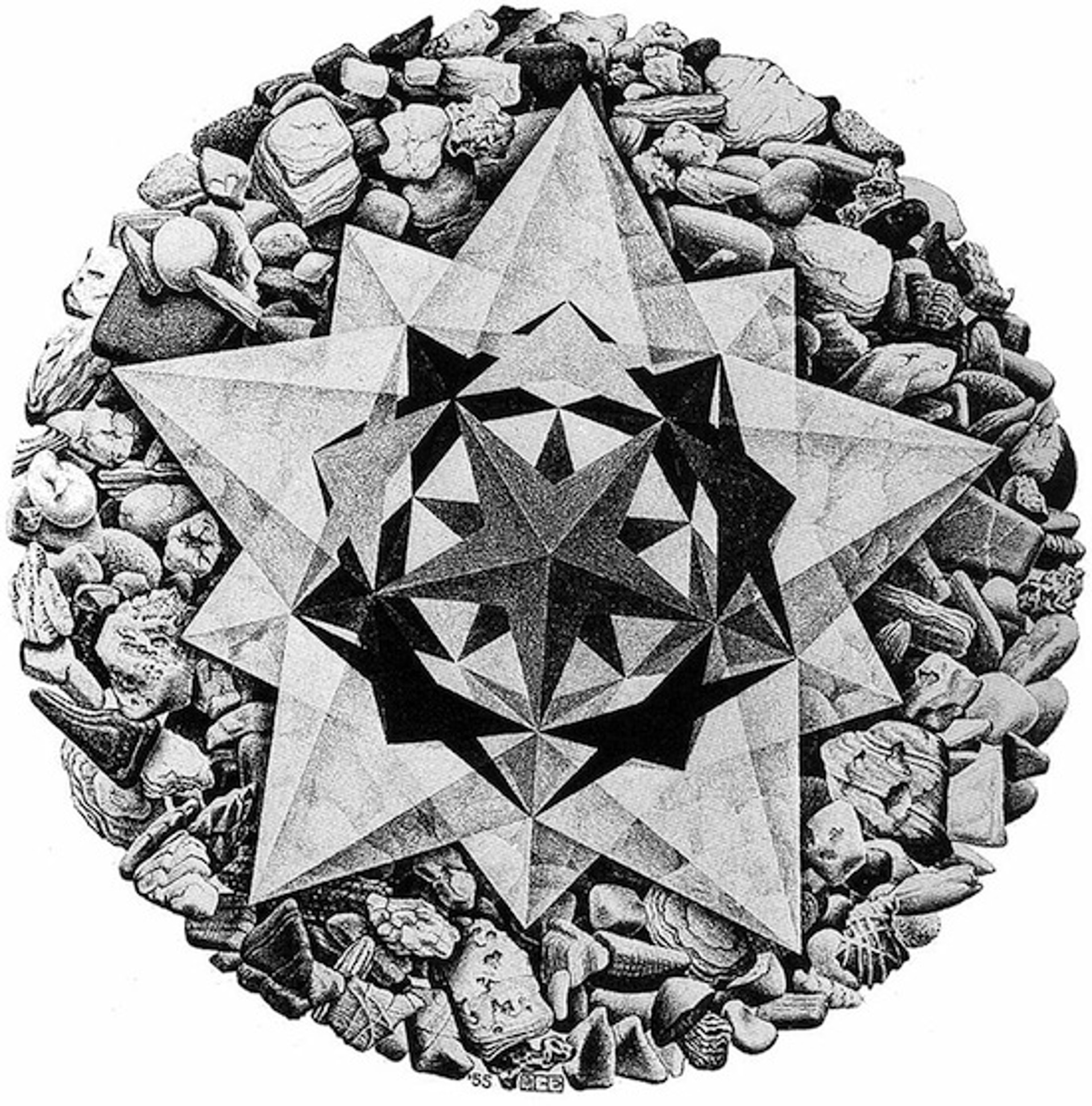 Order and Chaos II (Compass Rose) by M.C. Escher