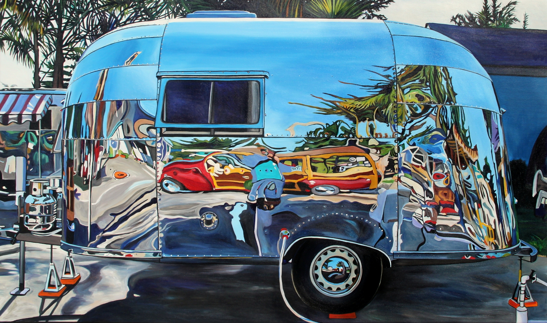 Airstream Reflecting Wooden Station Wagon by Taralee Guild