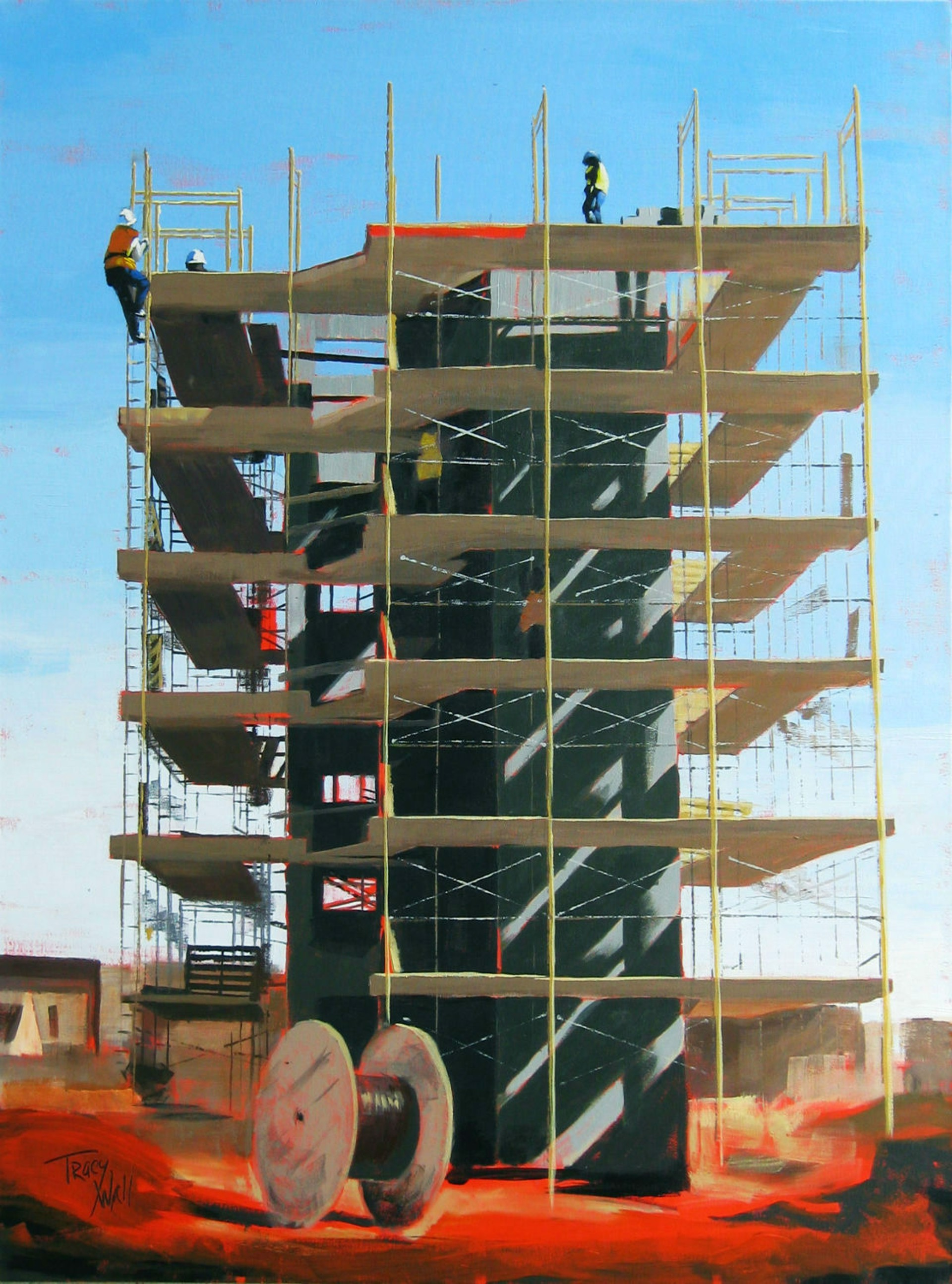 Scaffolding in Red by Tracy Wall