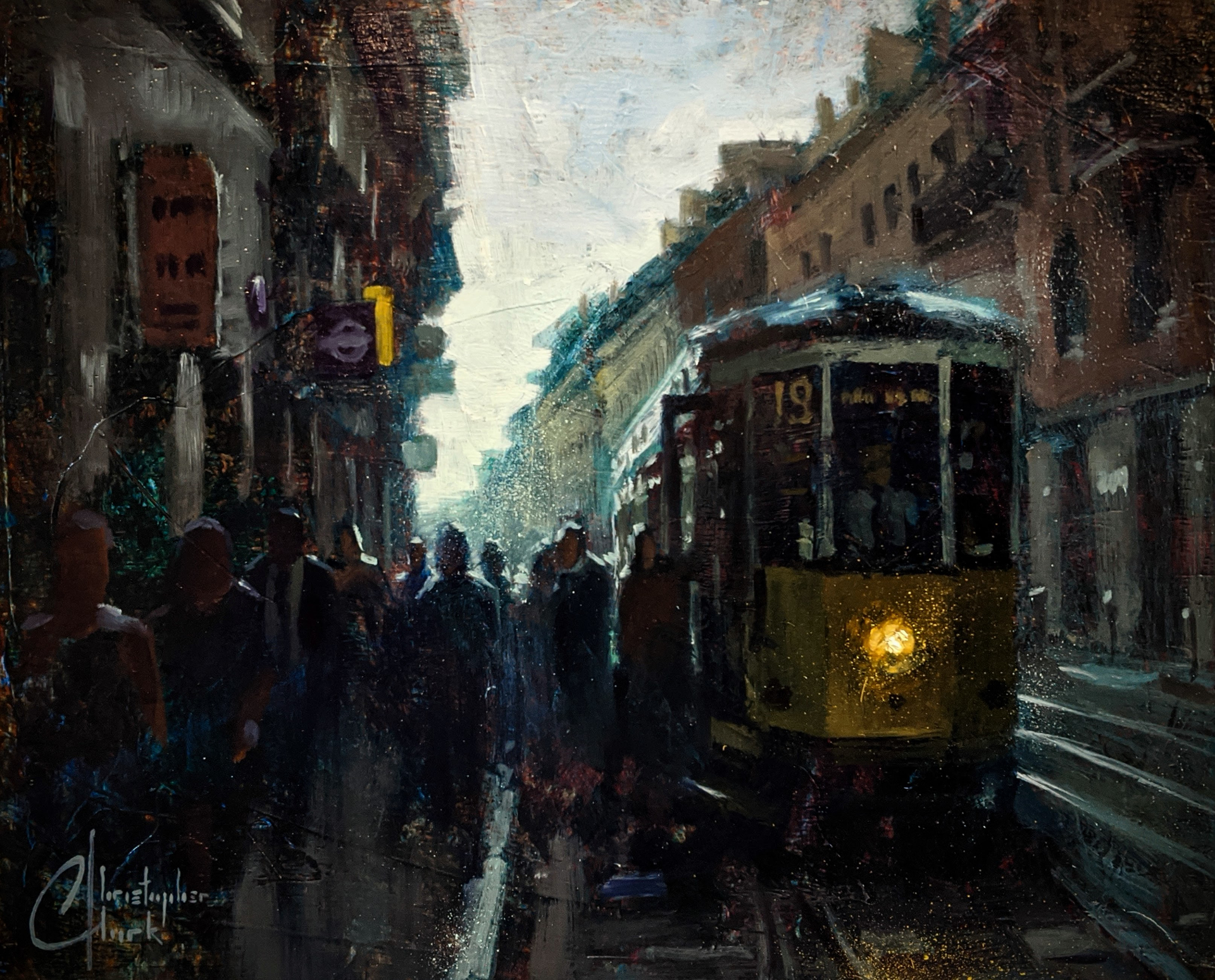 Milan, Italy - Early Morning Trolley by Christopher Clark