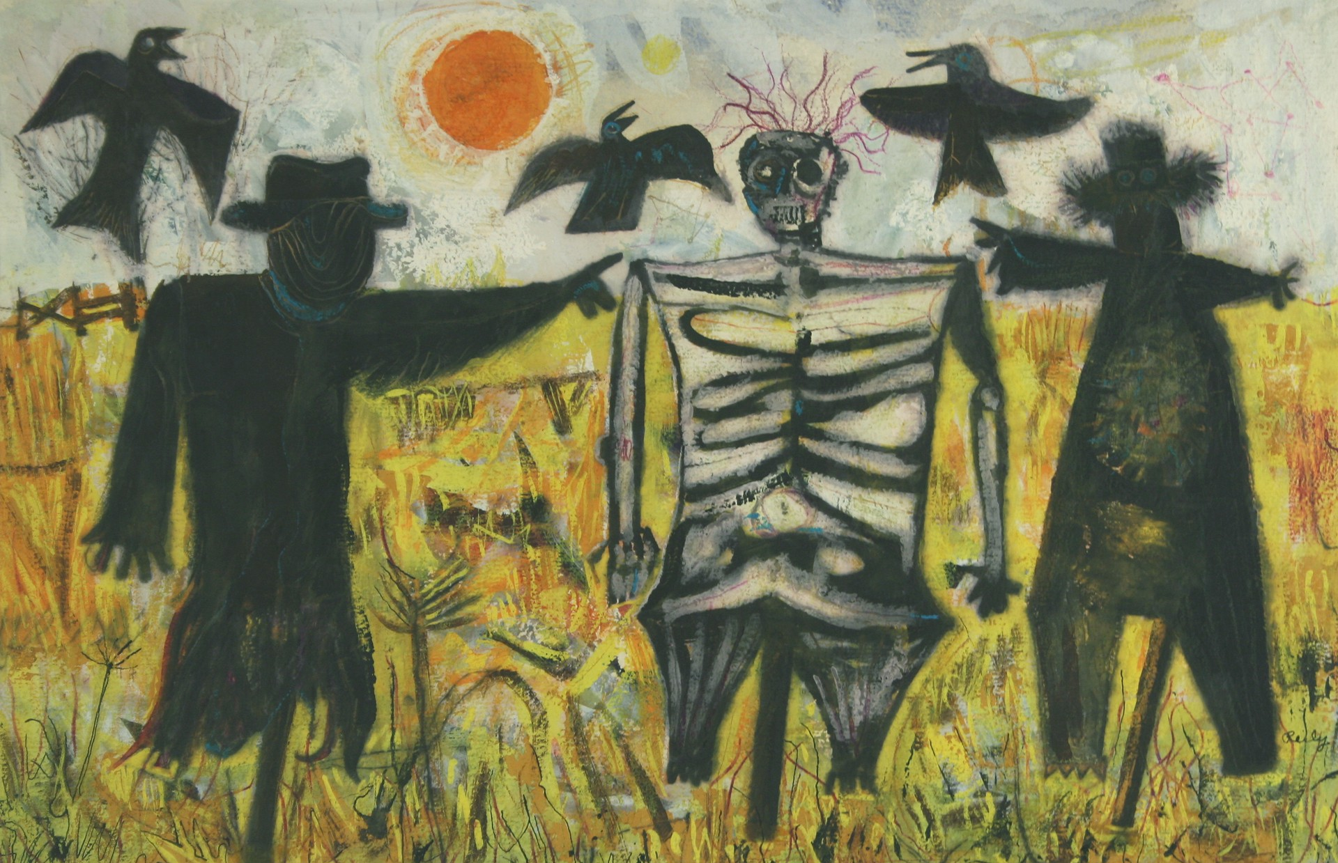Scarecrows in a Field by Bill Reily