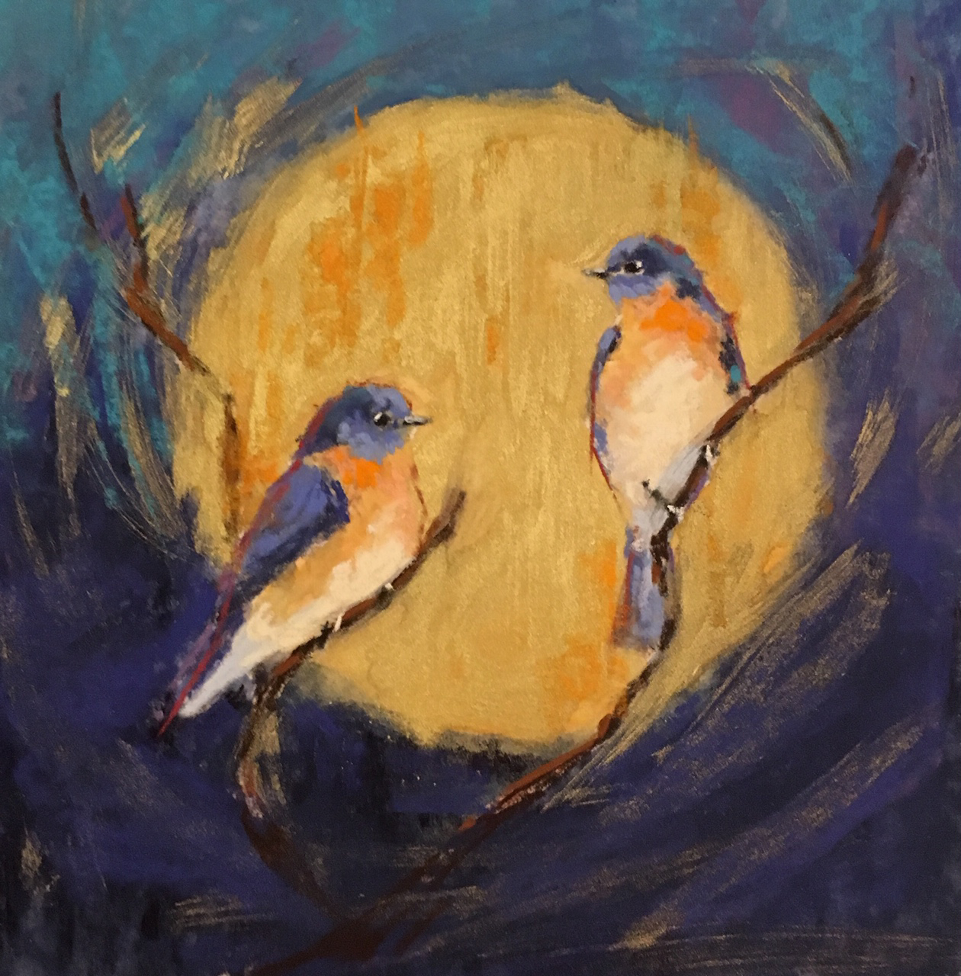 Bluebirds on Gold I by Cecilia Murray