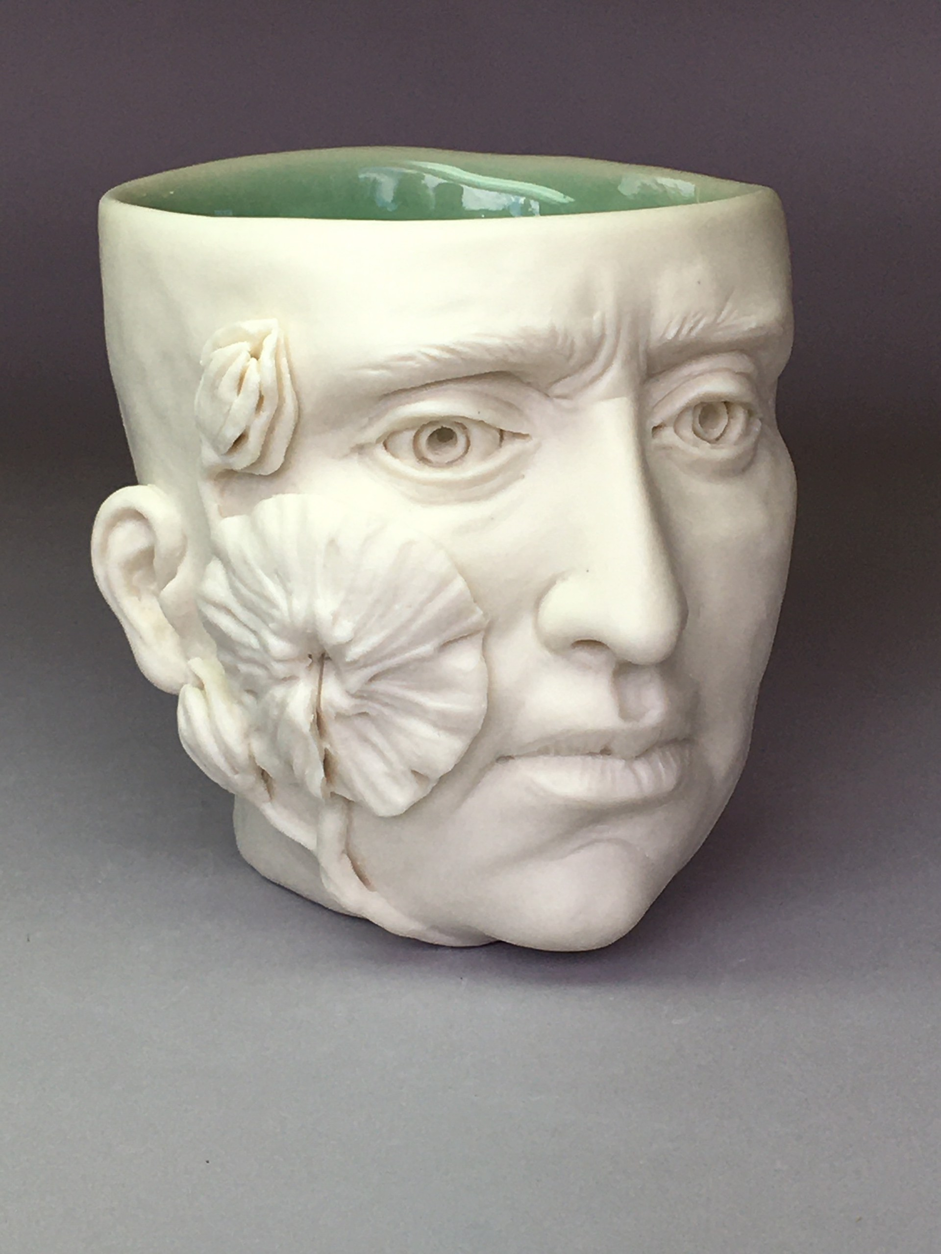 """""""Flora Cup II"""" (leaf and two buds left side, eyes open) by Adrian Arleo"""