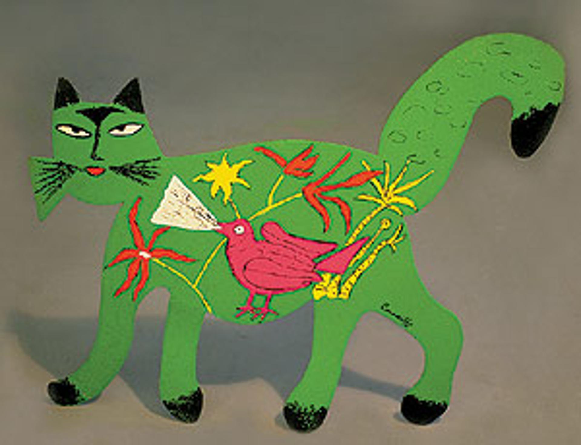 Chat vert avec Oiseau by Corneille van Beverloo