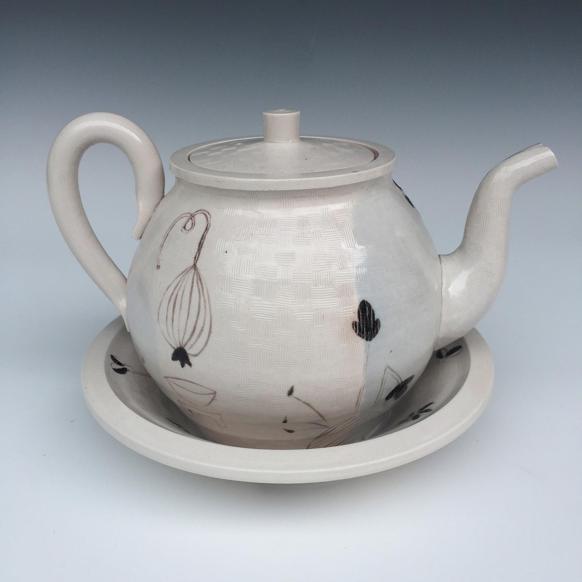 Flat Top Teapot w/Bowl & Painted Motifs by Linda Sikora