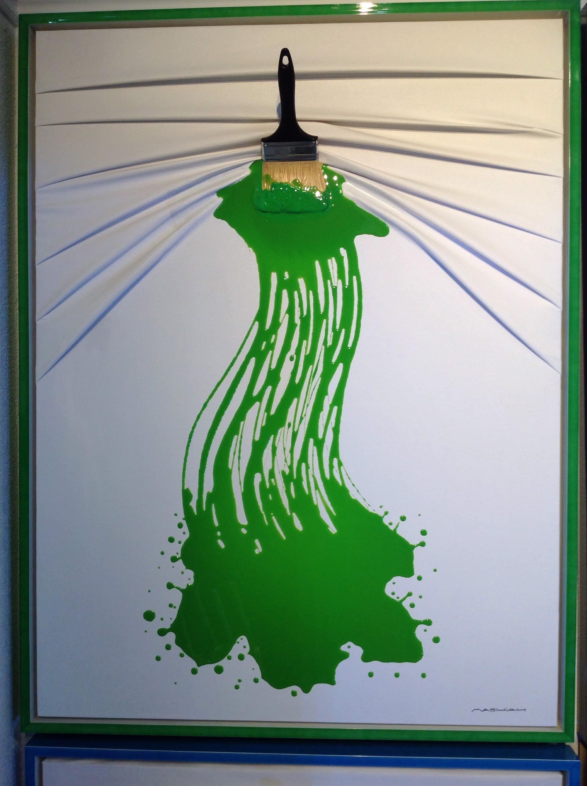 """Lets Paint"" Brush Green on White by Efi Mashiah"