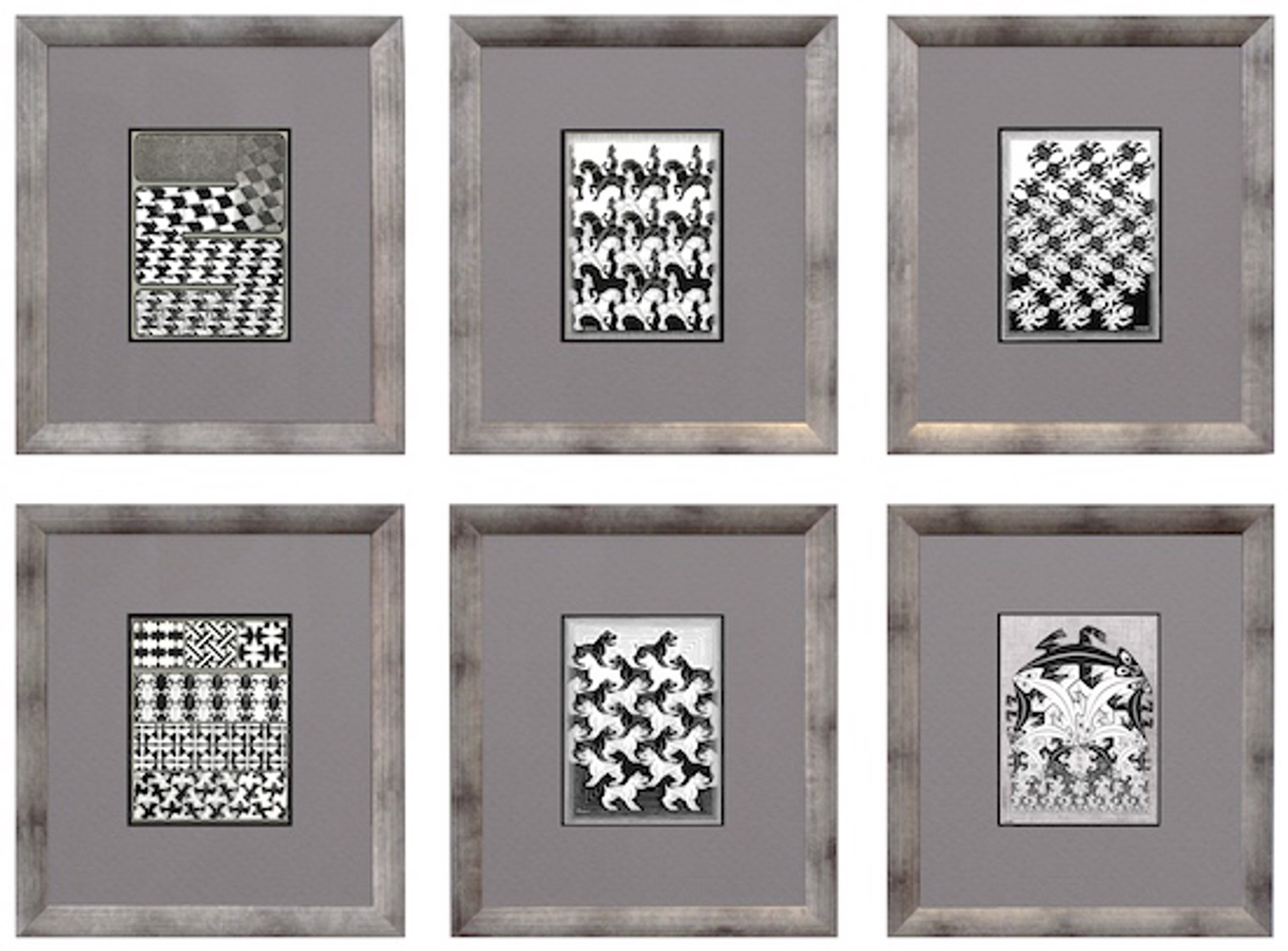 Regular Division of the Plane (Black; complete set of 6) by M.C. Escher