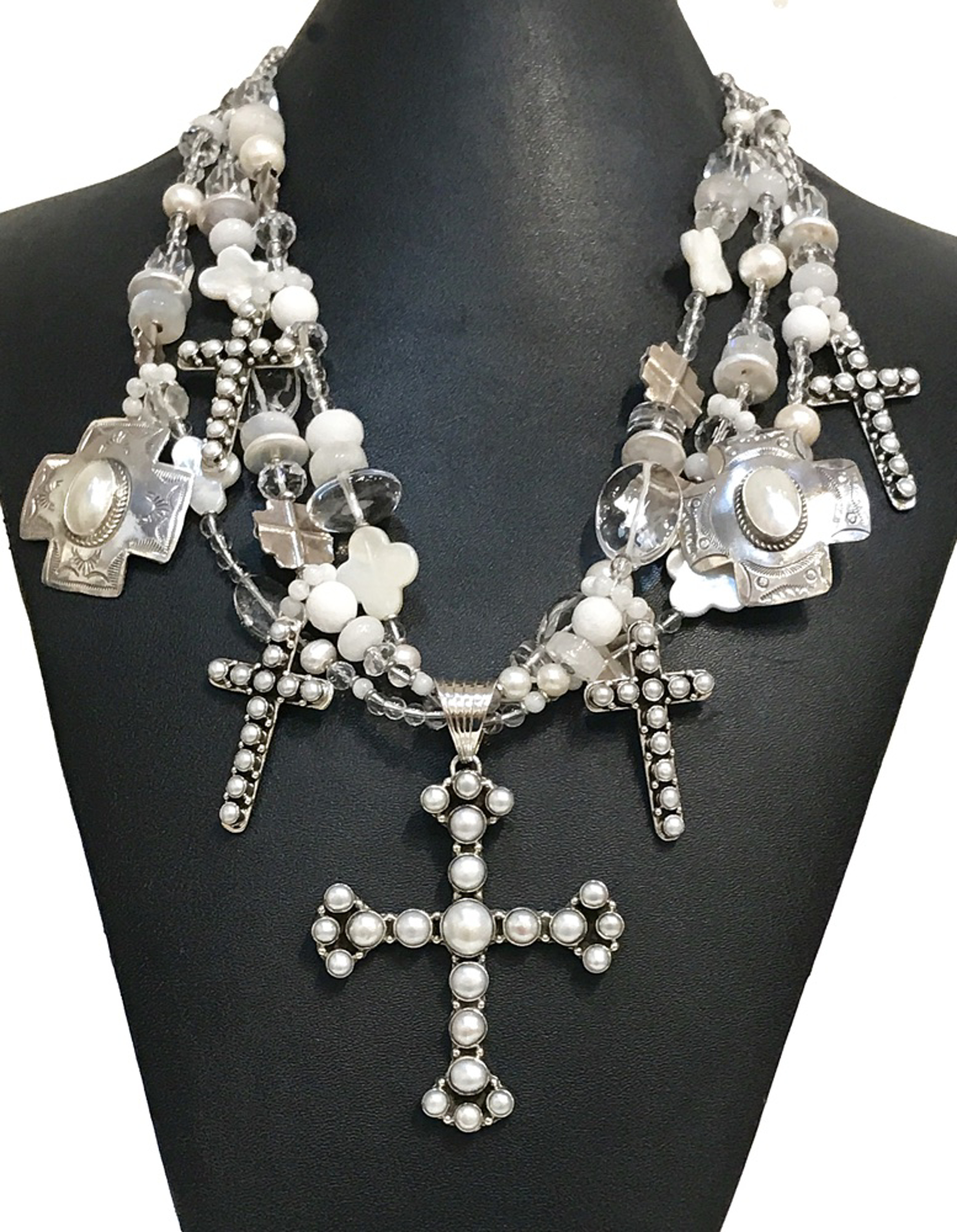 KY 1269 Three Strand Cross Necklace Mother of and Freshwater Pearls by Kim Yubeta