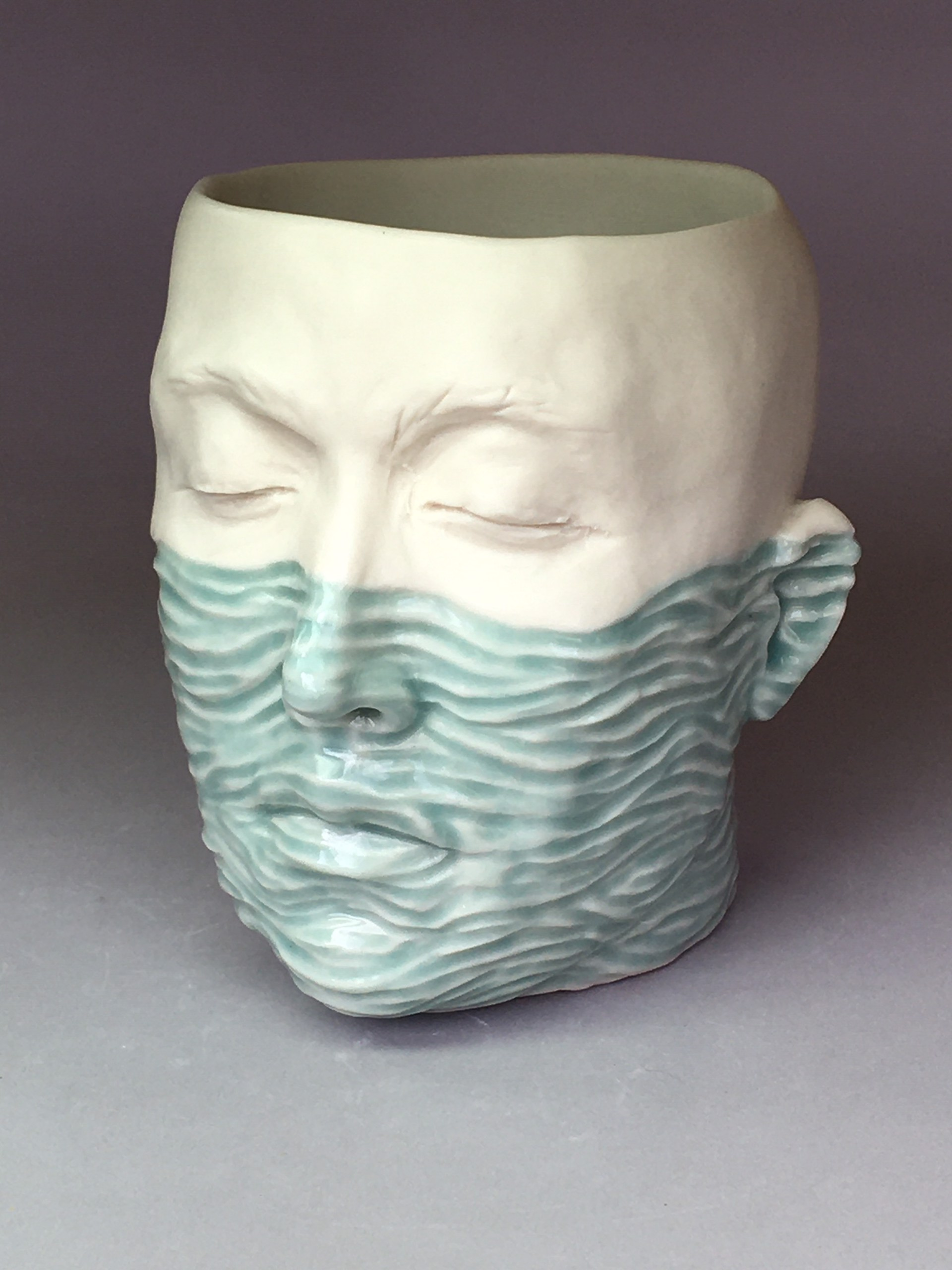 """""""Water Level Cup III"""" (light blue celadon, green interior) by Adrian Arleo"""