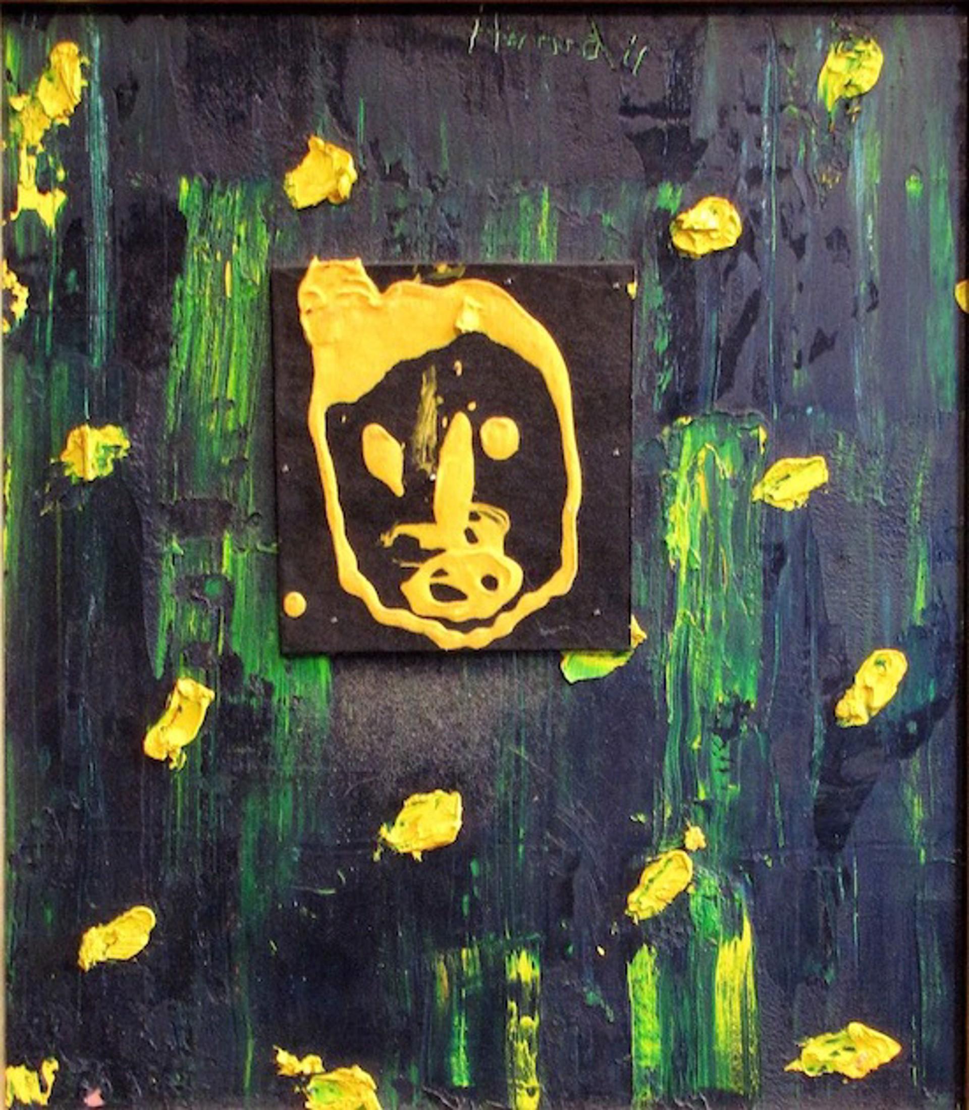 Yellow Felt Face on Green by James Havard