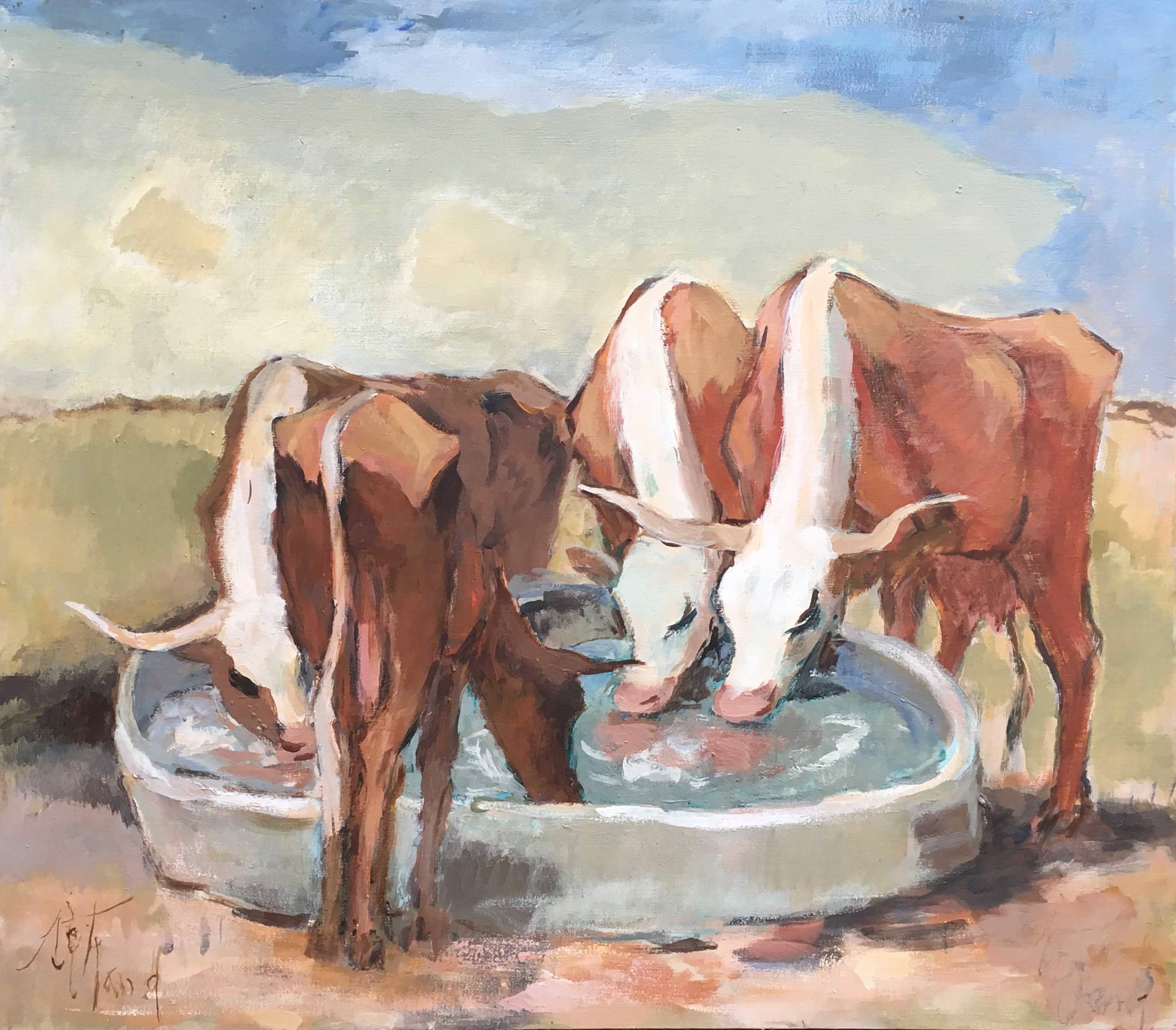 The Water Trough (Thirsty Cows) by Emily Rutland