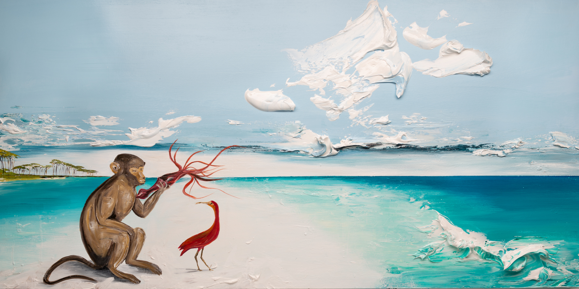 DAY AT BEACH WITH MONKEY SQUID AND SCARLET IBIS SS-72x36-2020-077 by JUSTIN GAFFREY