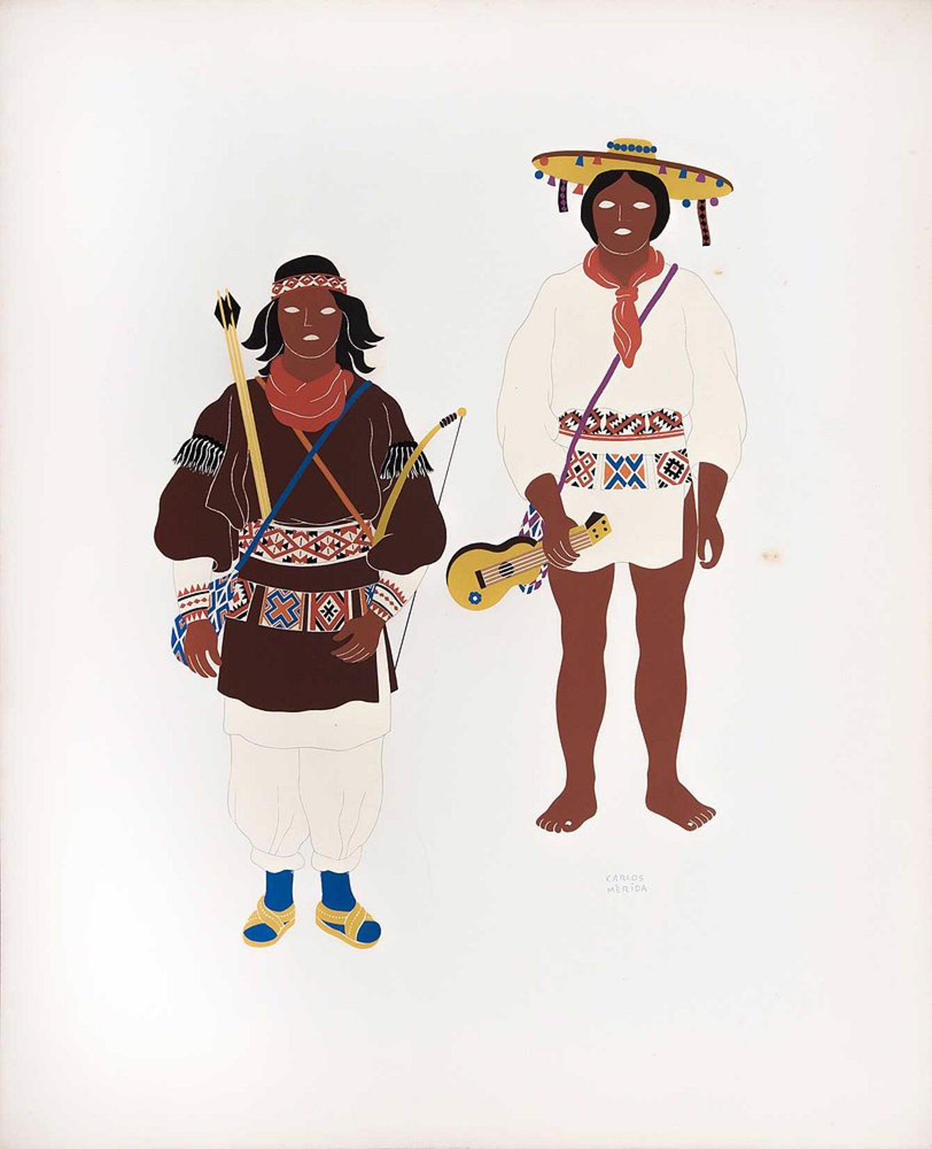 Huicholes of the States of Nayarit & Jalisco by Carlos Mérida (1891 - 1985)