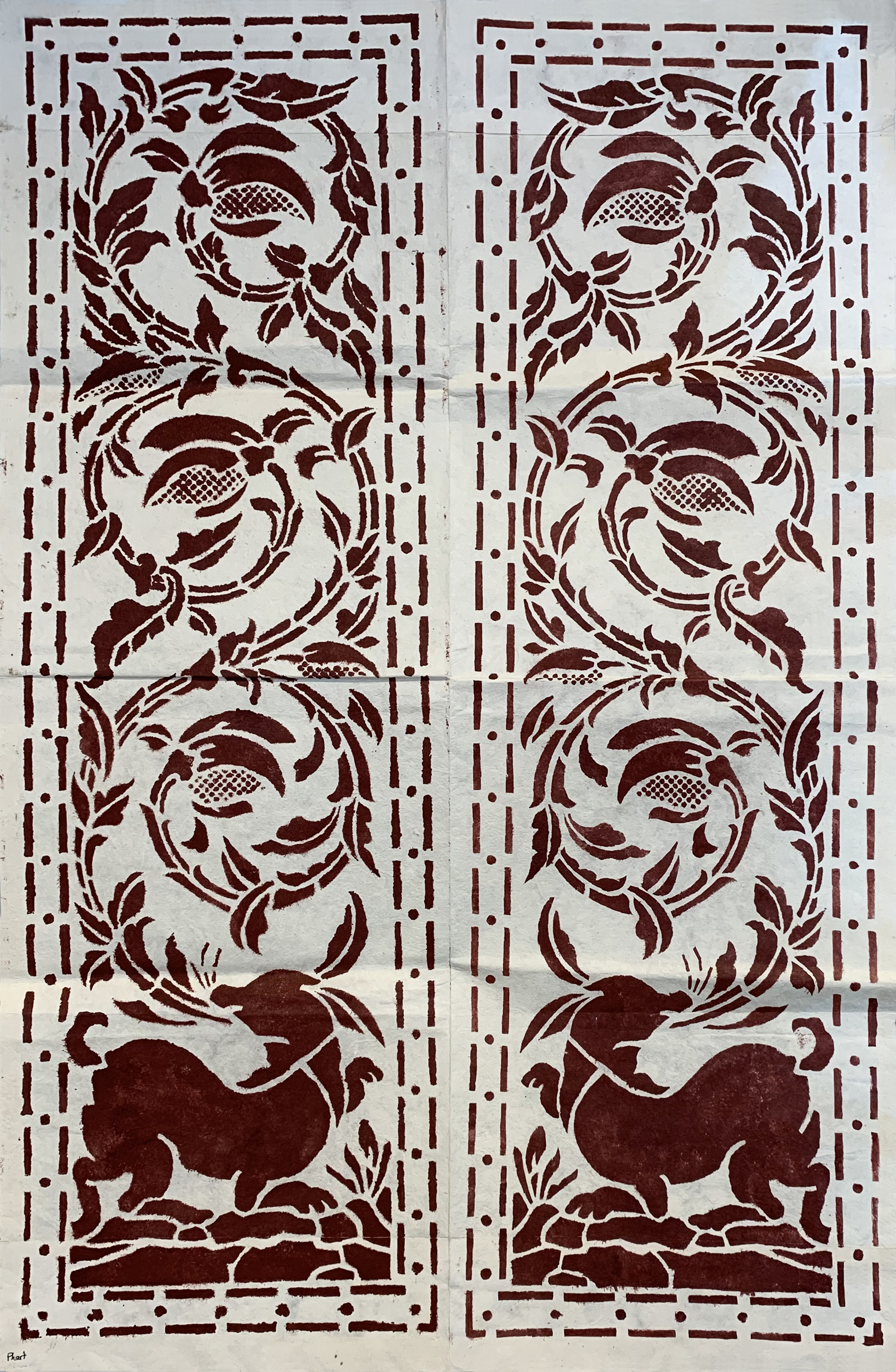 Joyful Rabbit: Cutting Stencil Positive by Tiao Nithakhong Somsanith