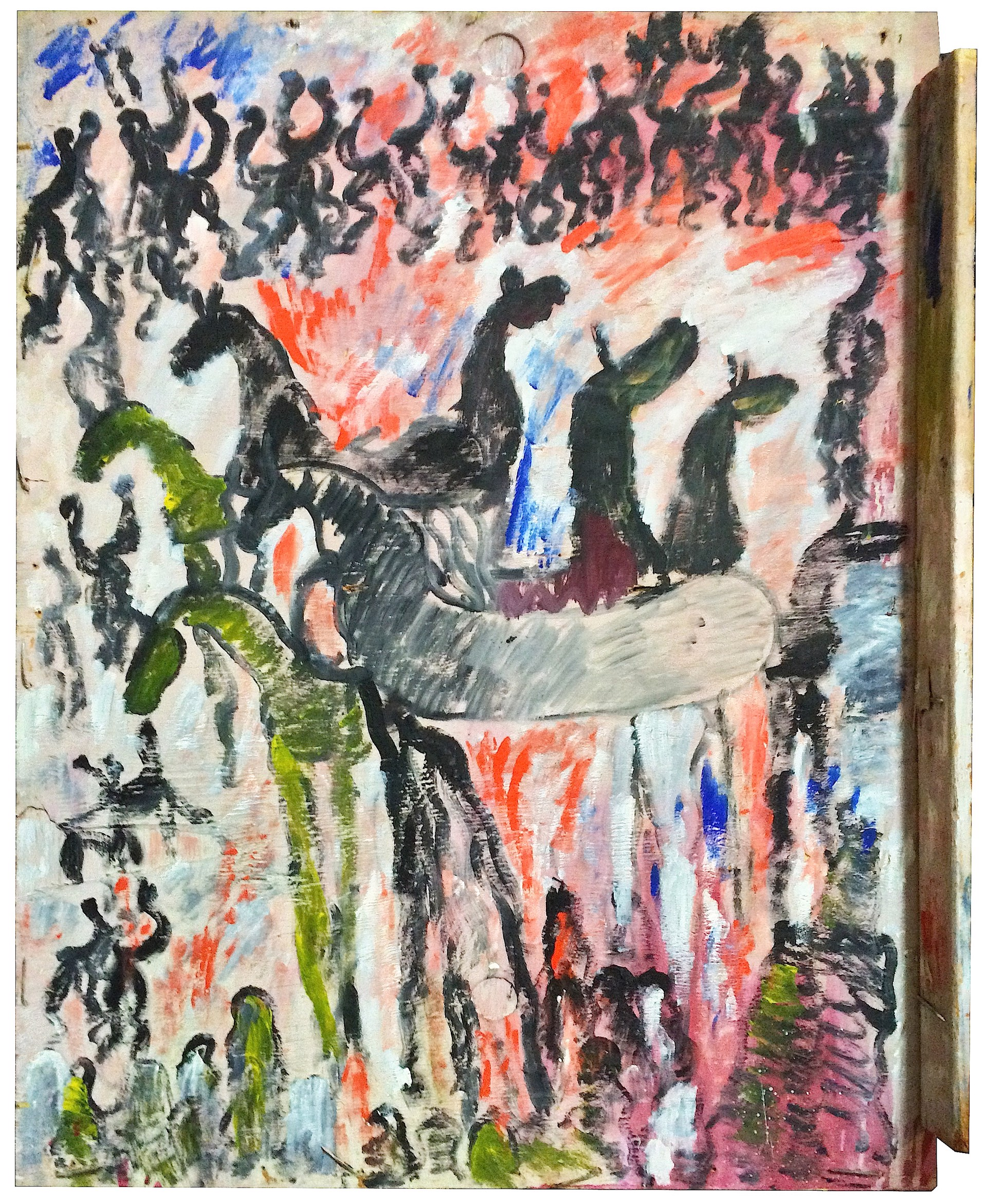 Wild Horses (on Dayglo) by Purvis Young