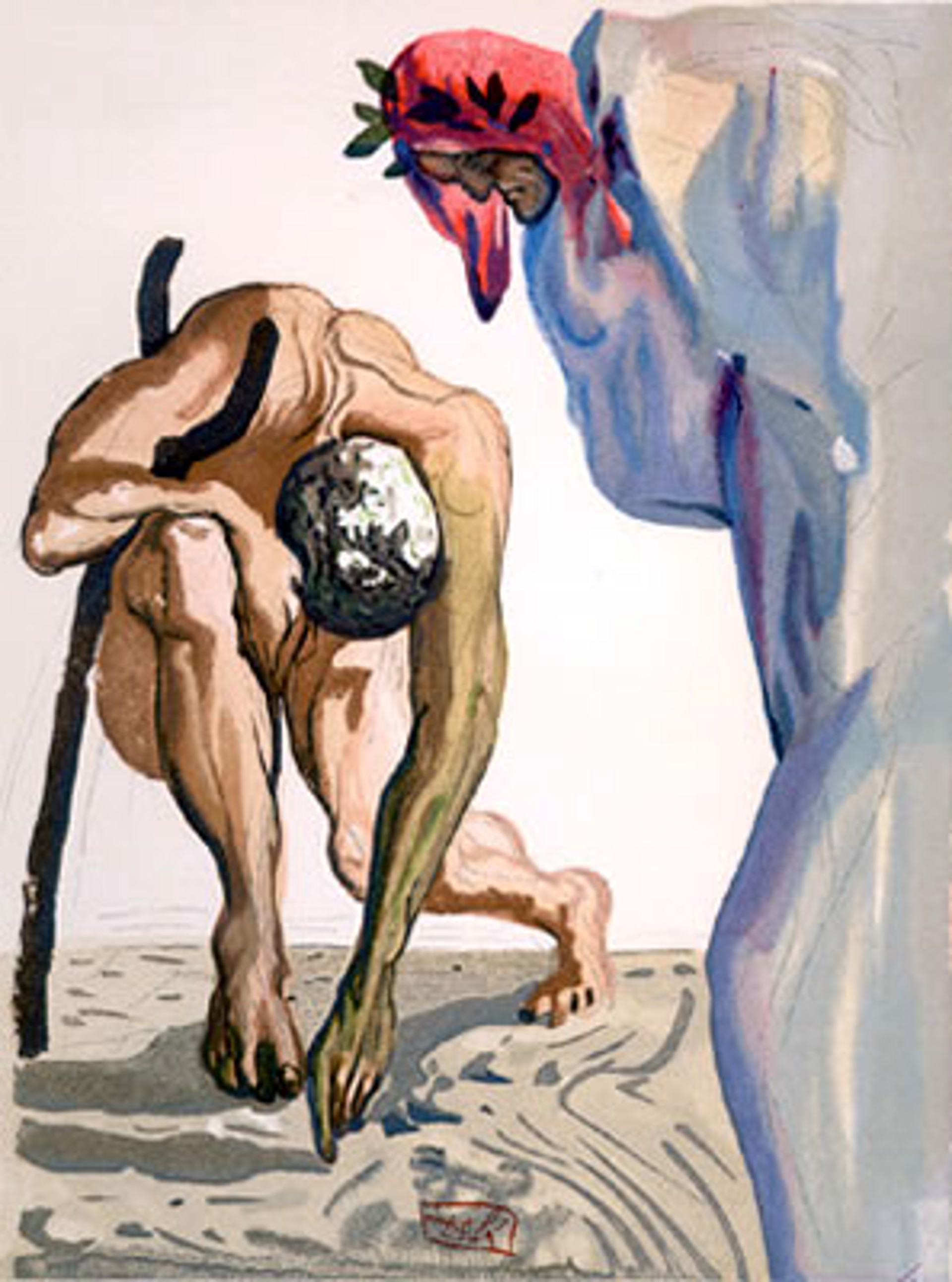 Purgatory Canto 7: The Princess of the Blossoming Valley from The Divine Comedy by Salvador Dali (1904 - 1989)