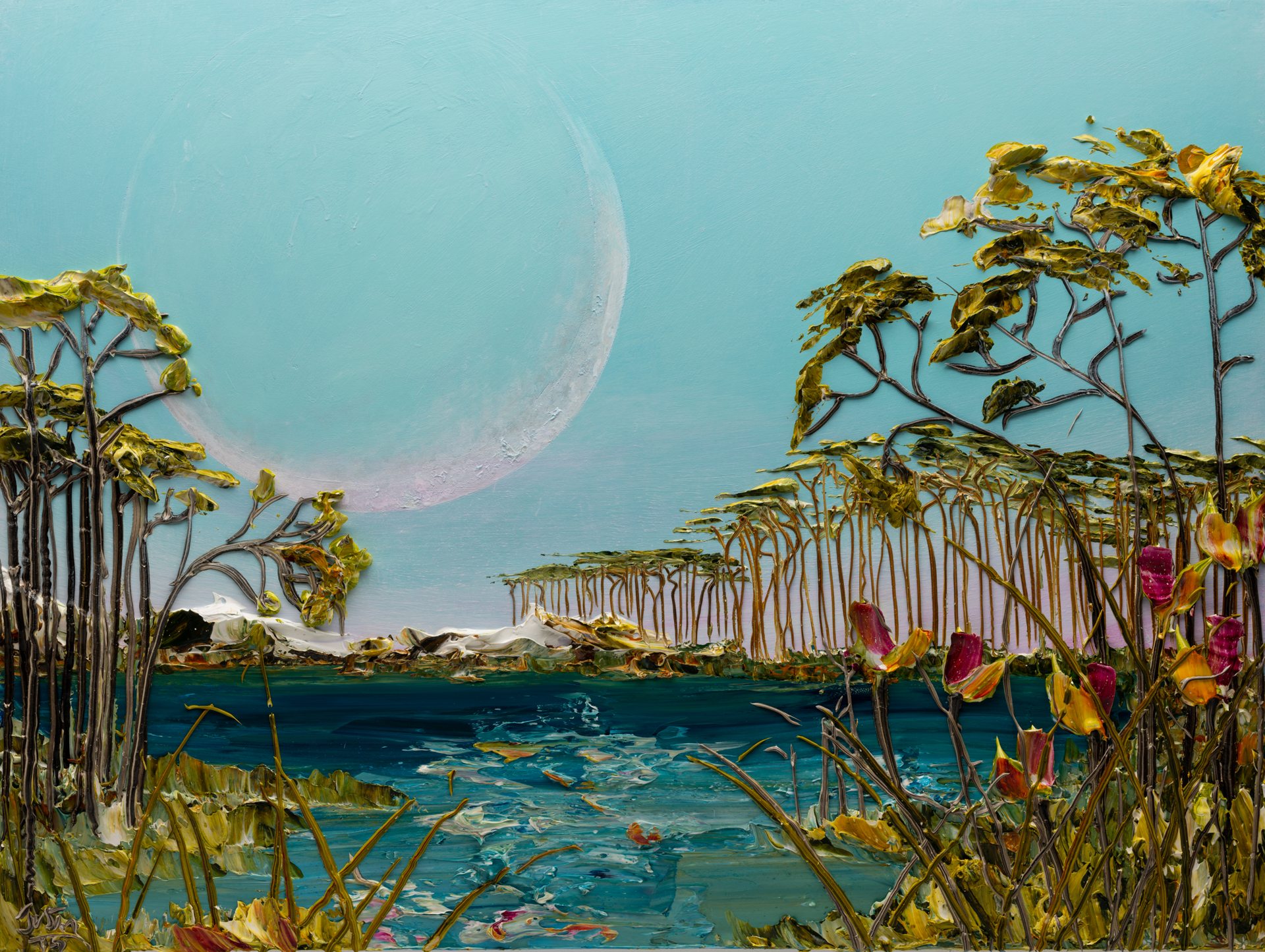 (SOLD) SUNRISE MOONSCAPE-MS-48x36-2019-225 by JUSTIN GAFFREY