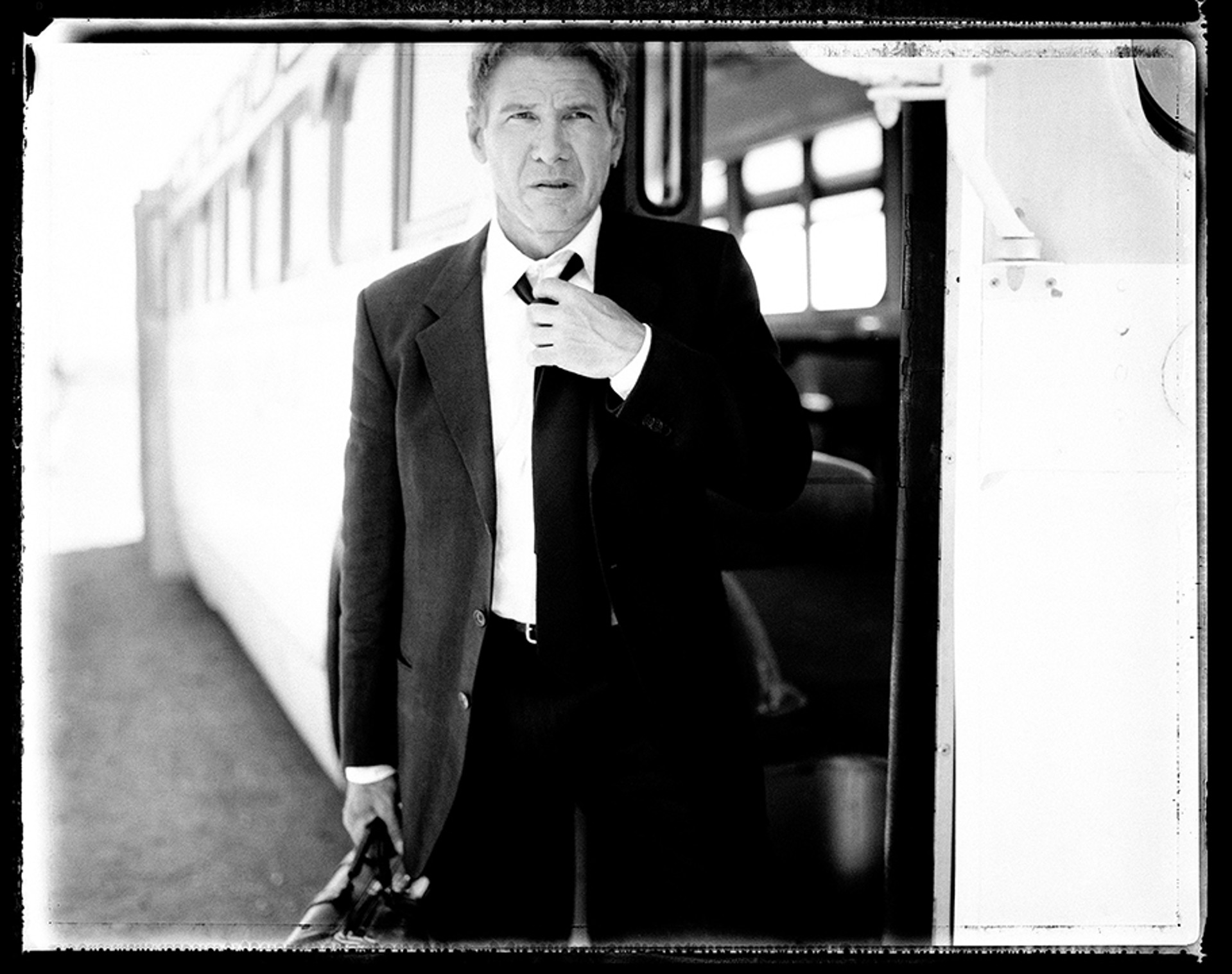 02020 Harrison Ford Bus Amboy BW by Timothy White