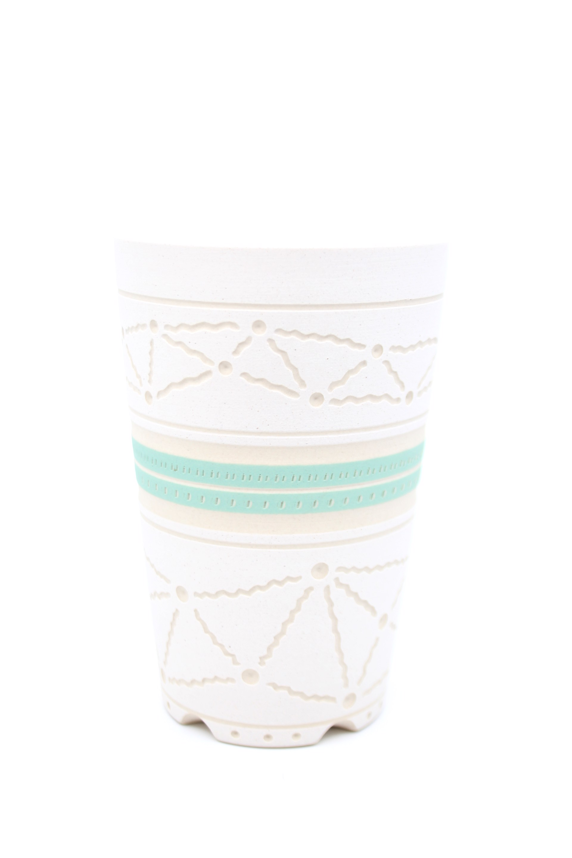 White/Mint Tall Cup by Chris Casey