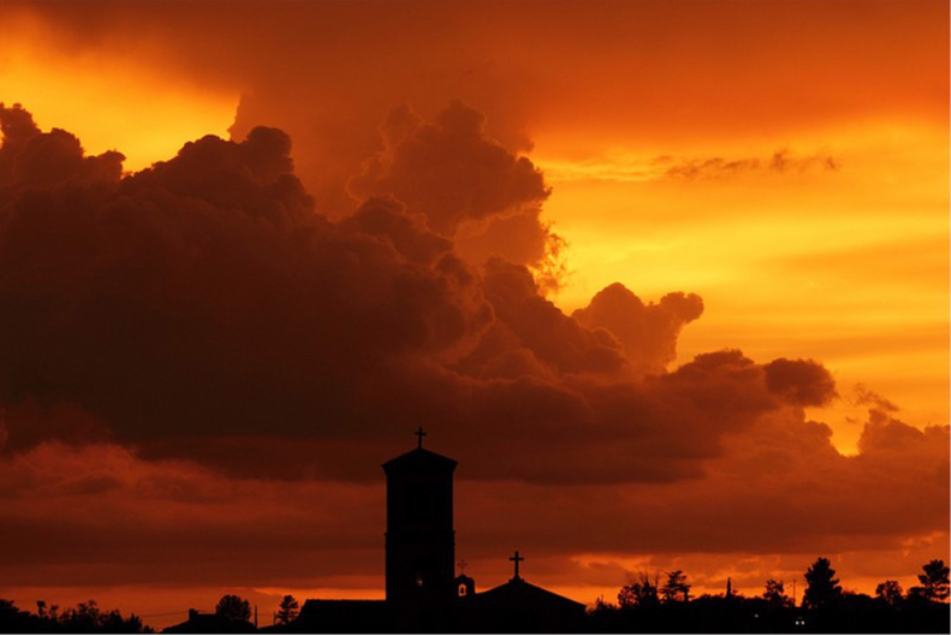 Sunset Over Sacred Heart, Nogales by John Hays