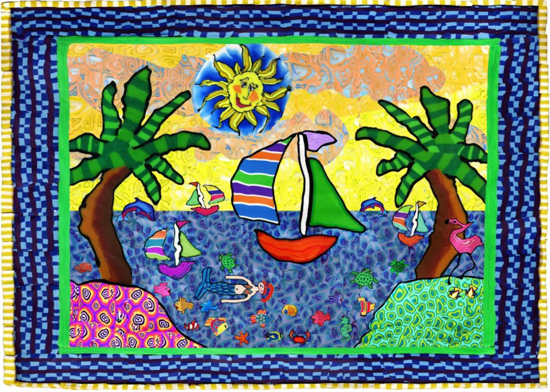 Sailboats and Palms  by Samantha Long - Prints