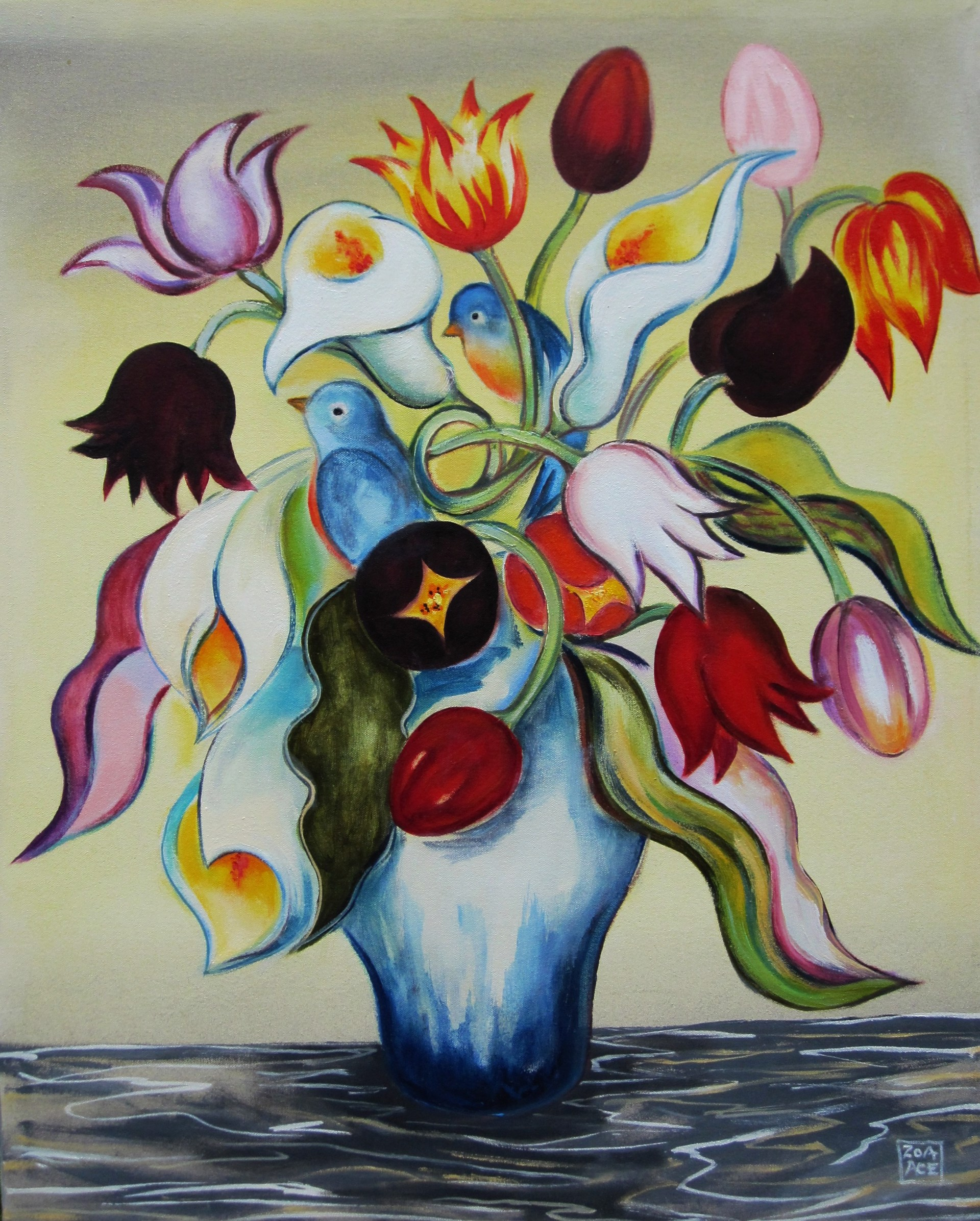 Bouquet with Blue Birds by Zoa Ace
