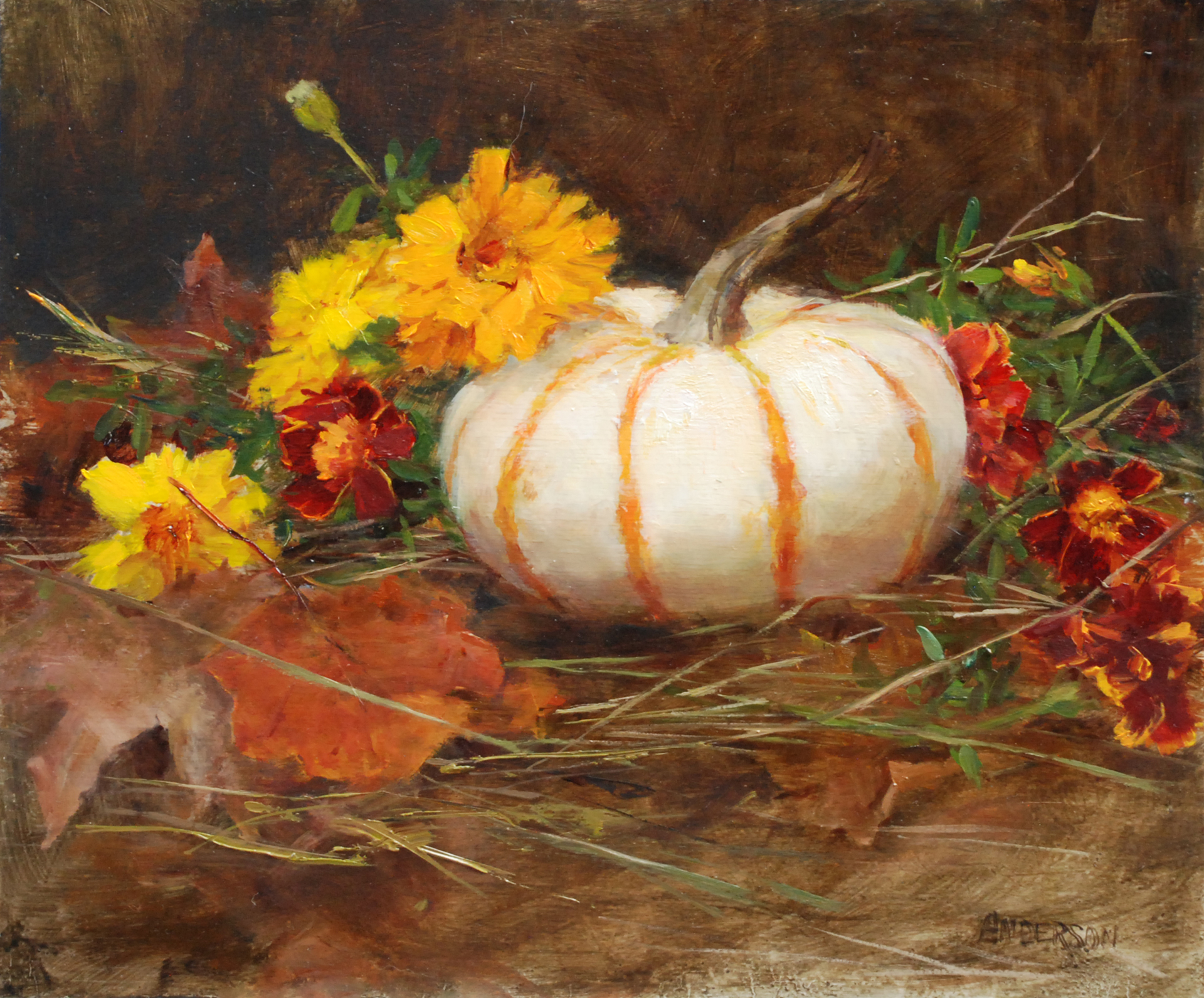 White Pumpkins with Marigolds by Kathy Anderson