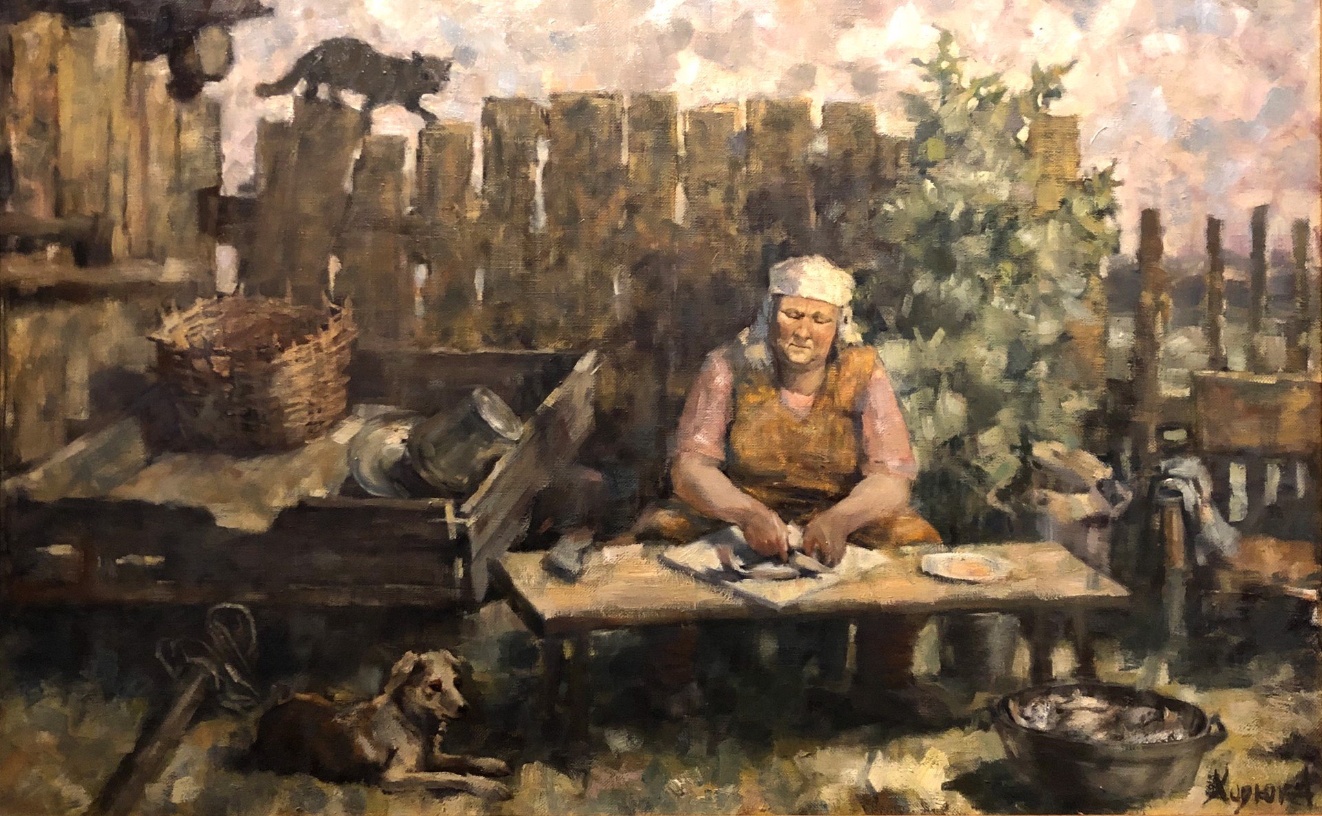 Alexander Petrovich Khoduk - Cleaning Fish by Russian Artists