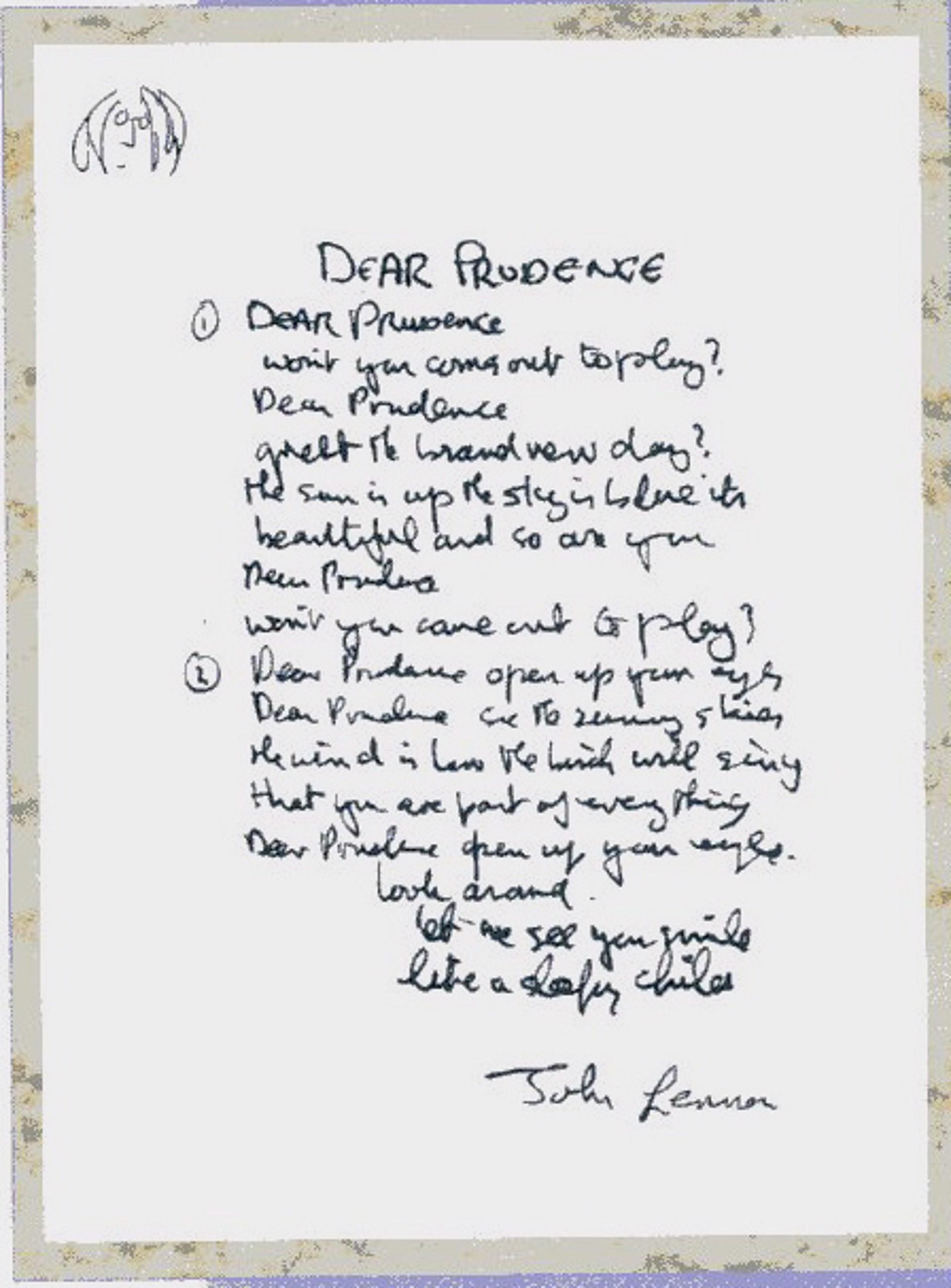 """Dear Prudence"" Lyrics by John Lennon"