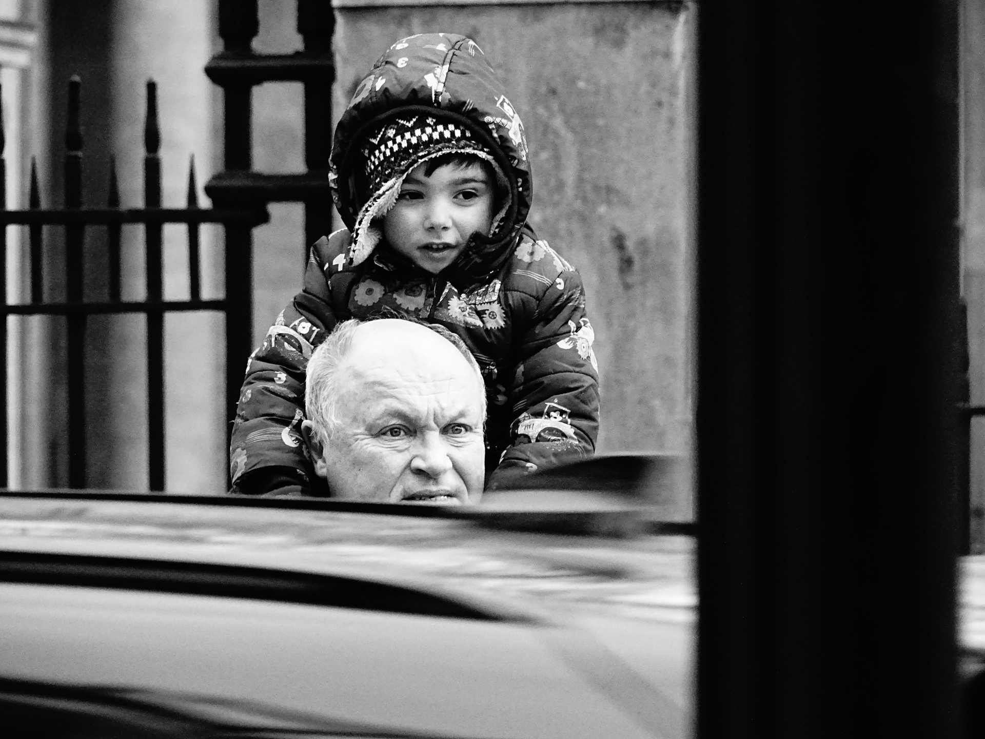 On His Grandfather's Shoulders, London by Stacy Widelitz